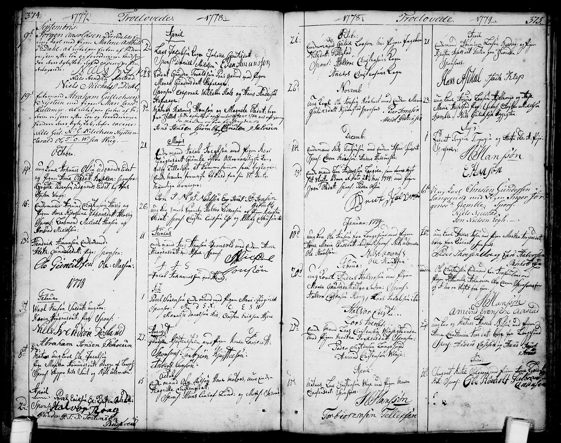 SAKO, Bamble kirkebøker, F/Fa/L0002: Ministerialbok nr. I 2, 1775-1814, s. 374-375