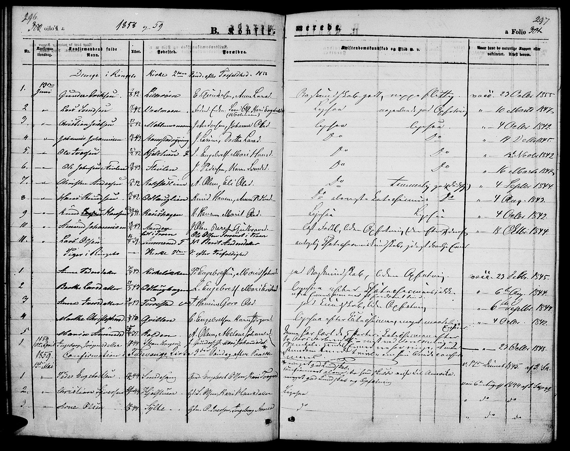 SAH, Ringebu prestekontor, Klokkerbok nr. 3, 1854-1866, s. 296-297