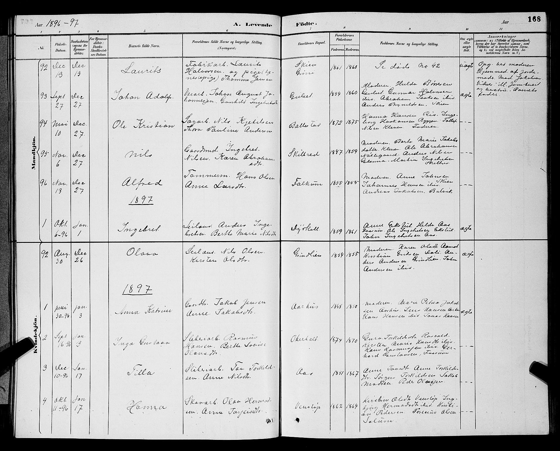 SAKO, Gjerpen kirkebøker, G/Ga/L0002: Klokkerbok nr. I 2, 1883-1900, s. 168