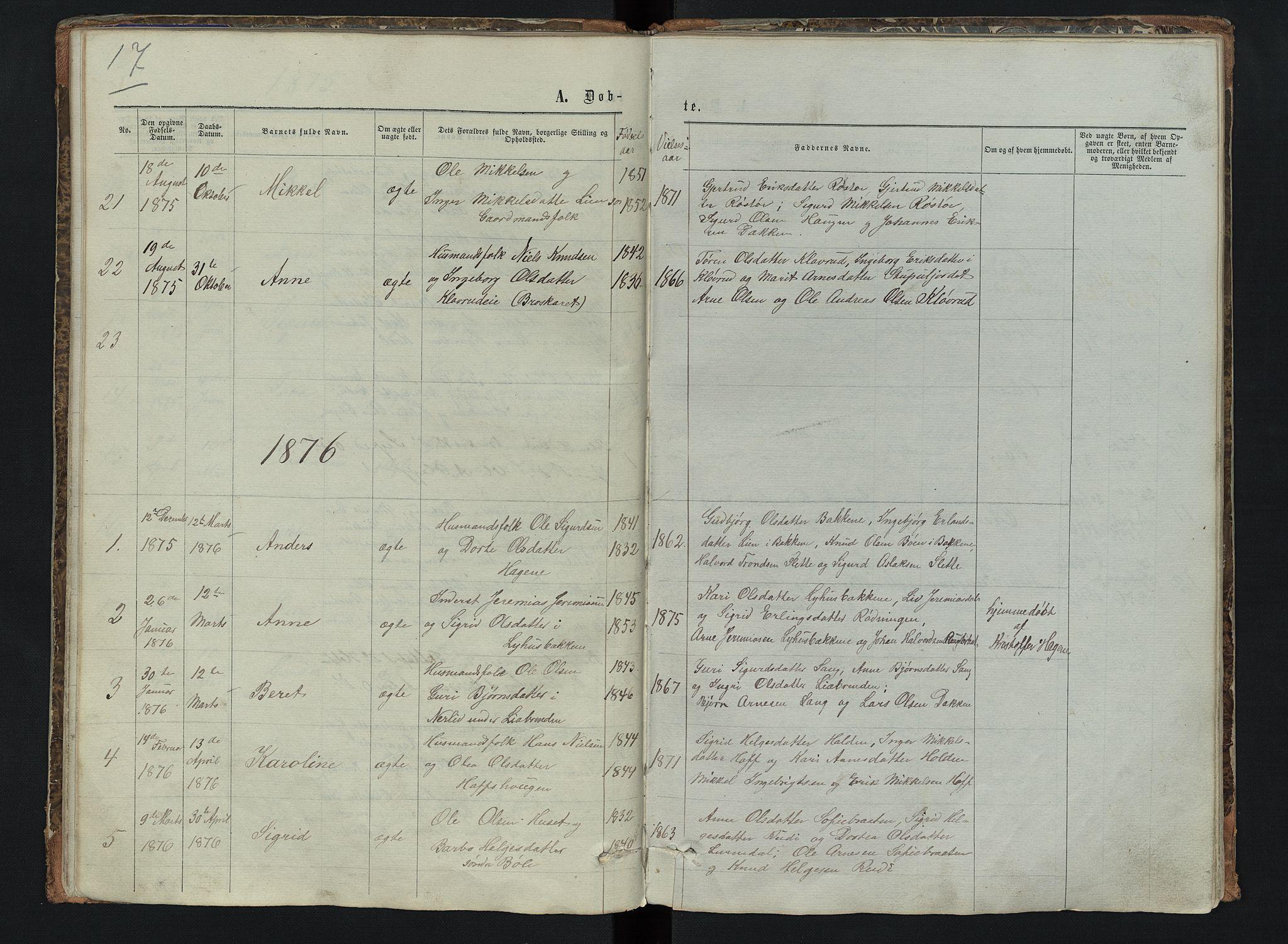 SAH, Sør-Aurdal prestekontor, Klokkerbok nr. 6, 1866-1893, s. 17