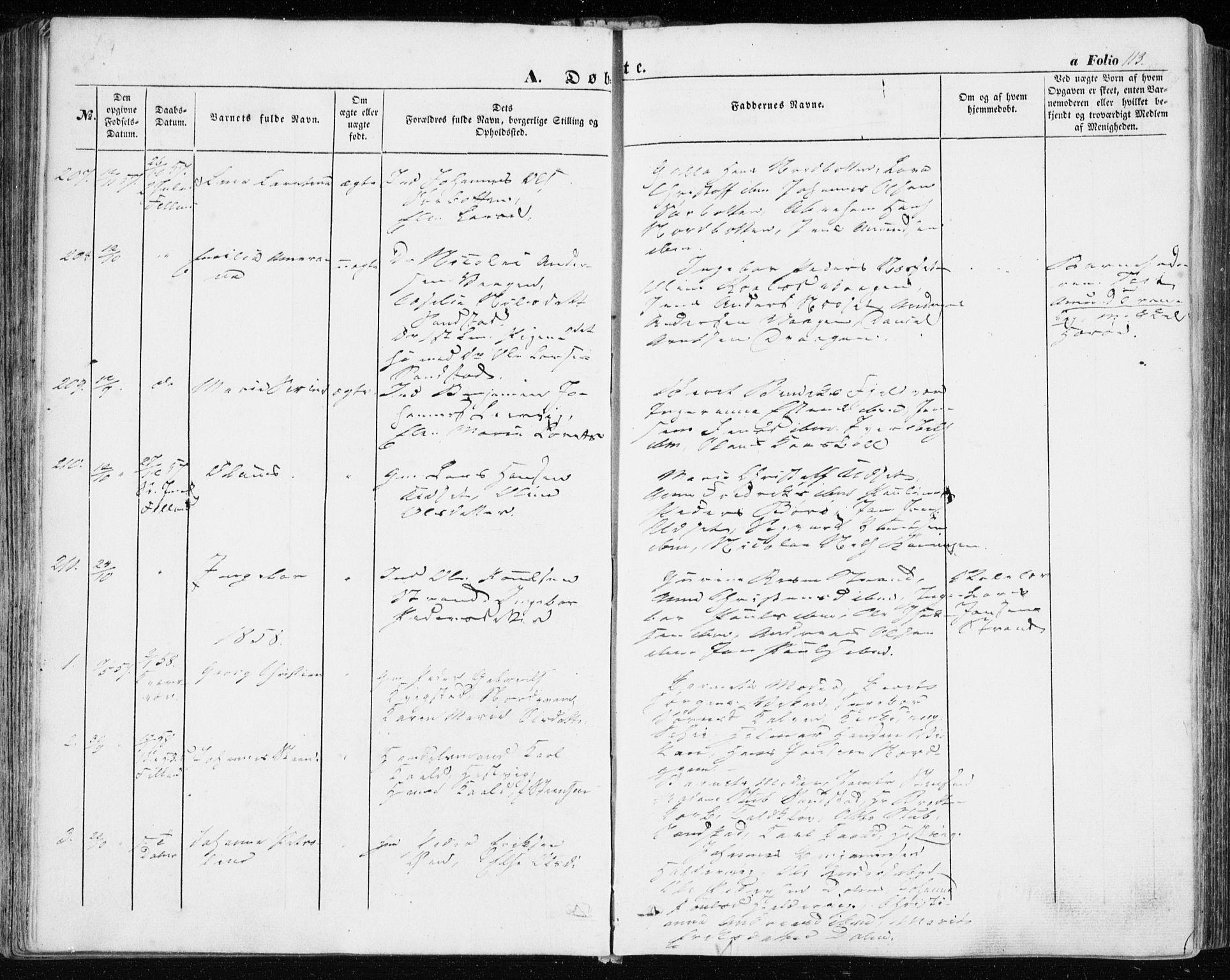 SAT, Ministerialprotokoller, klokkerbøker og fødselsregistre - Sør-Trøndelag, 634/L0530: Ministerialbok nr. 634A06, 1852-1860, s. 113