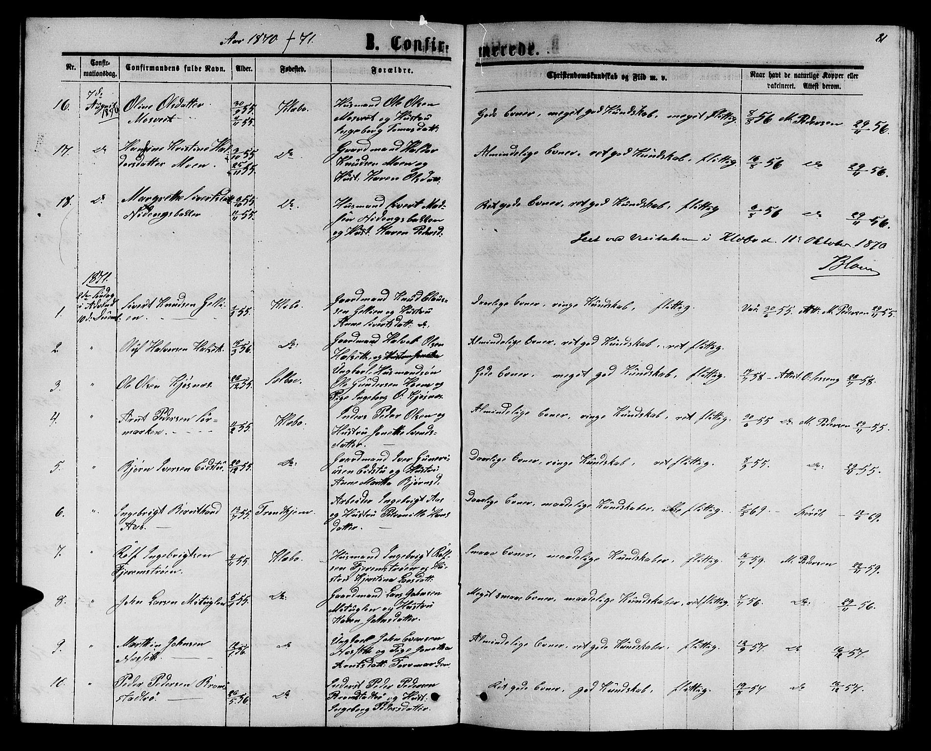 SAT, Ministerialprotokoller, klokkerbøker og fødselsregistre - Sør-Trøndelag, 618/L0451: Klokkerbok nr. 618C02, 1865-1883, s. 81