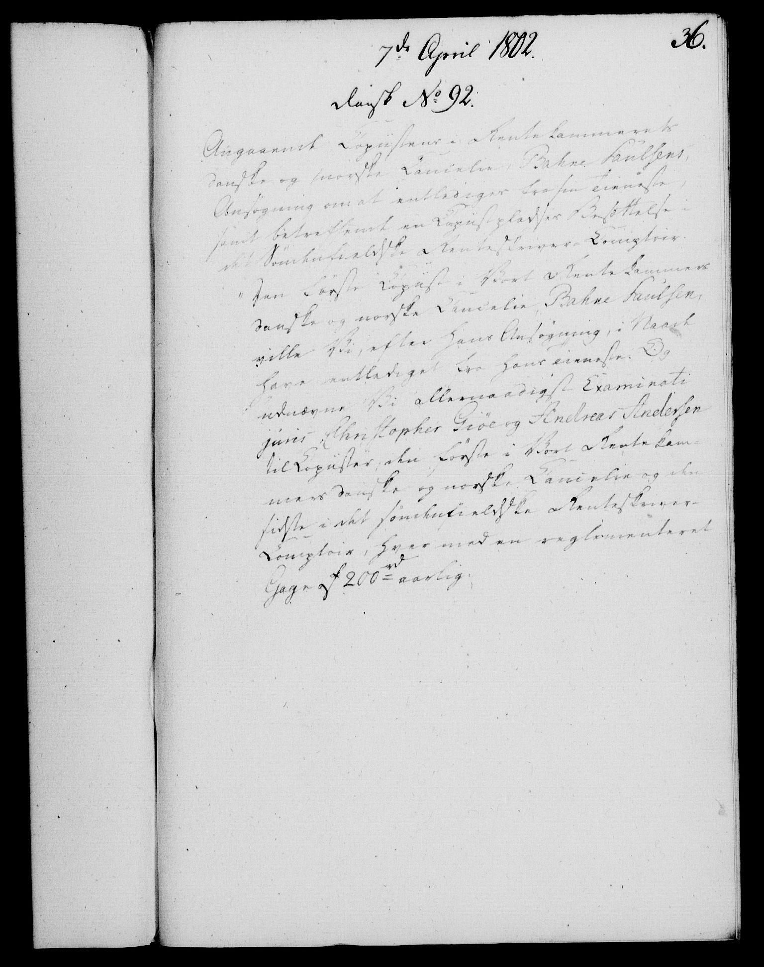 RA, Rentekammeret, Kammerkanselliet, G/Gf/Gfa/L0084: Norsk relasjons- og resolusjonsprotokoll (merket RK 52.84), 1802, s. 225