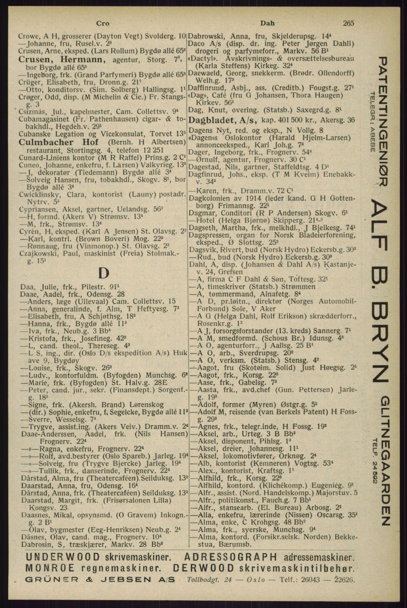 RA, Oslo adressebok (publikasjon)*, 1929, s. 265