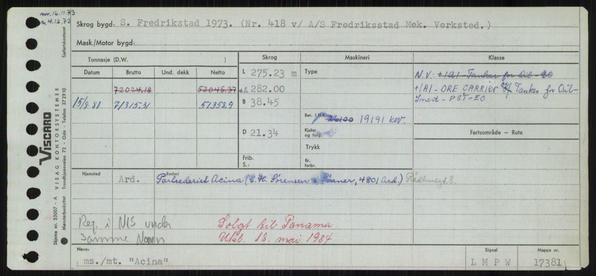 RA, Sjøfartsdirektoratet med forløpere, Skipsmålingen, H/Hd/L0001: Fartøy, A-Anv, s. 37