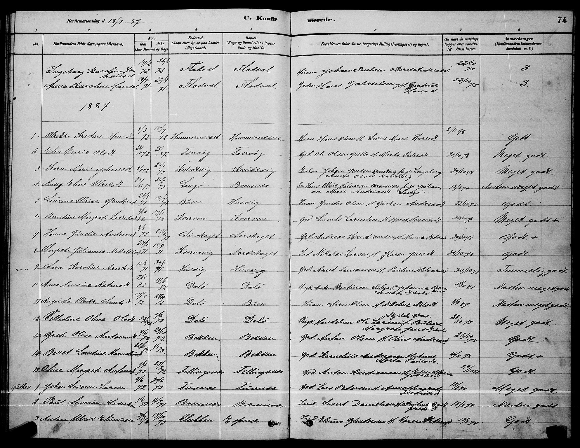 SAT, Ministerialprotokoller, klokkerbøker og fødselsregistre - Sør-Trøndelag, 641/L0597: Klokkerbok nr. 641C01, 1878-1893, s. 74