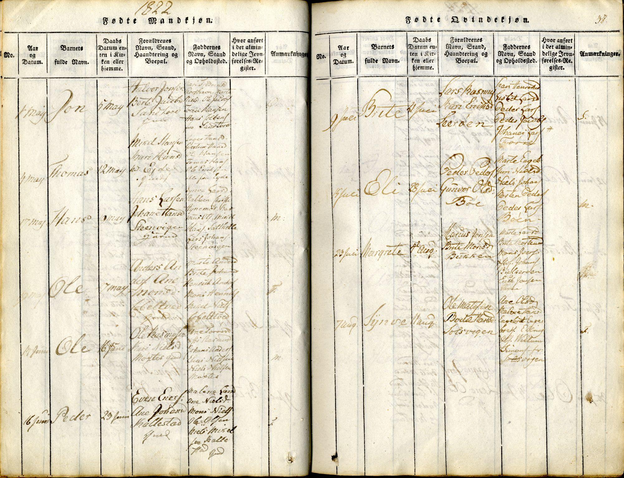 SAB, Sund sokneprestembete, Ministerialbok nr. A 11, 1814-1825, s. 38