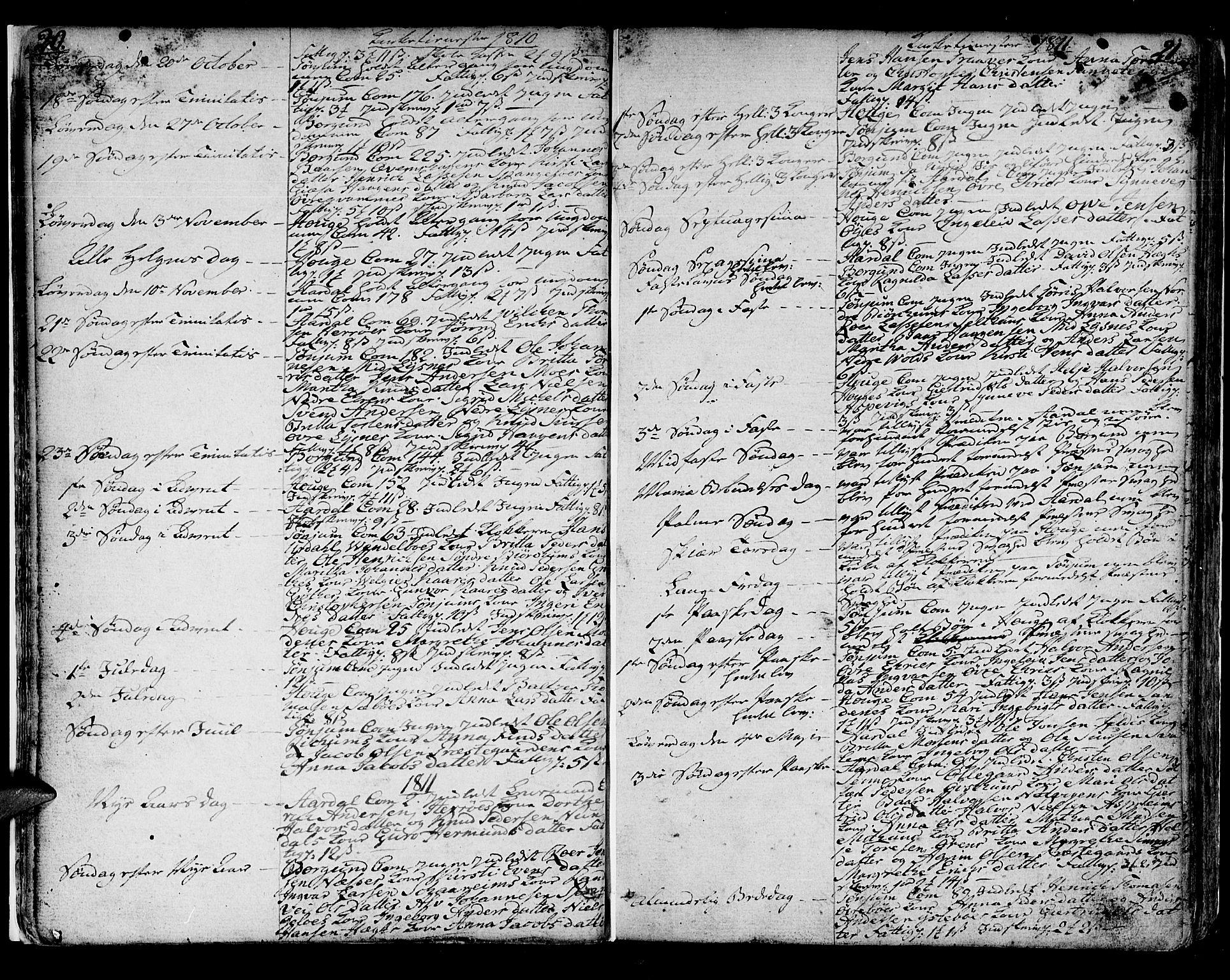 SAB, Lærdal sokneprestembete, Ministerialbok nr. A 4, 1805-1821, s. 20-21
