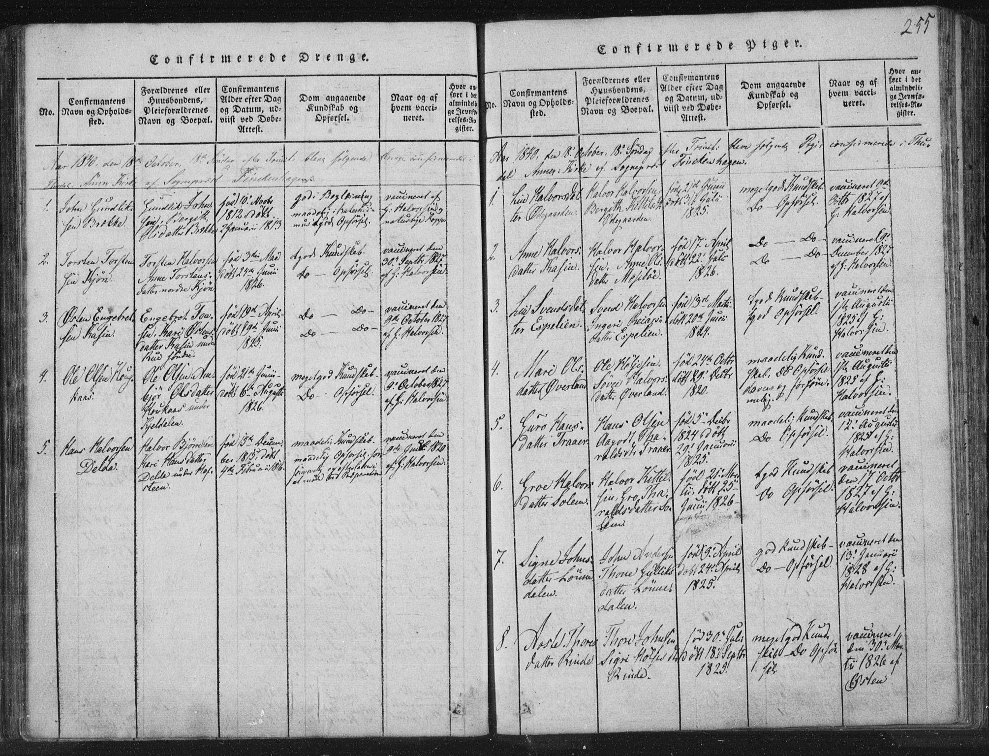 SAKO, Hjartdal kirkebøker, F/Fc/L0001: Ministerialbok nr. III 1, 1815-1843, s. 255