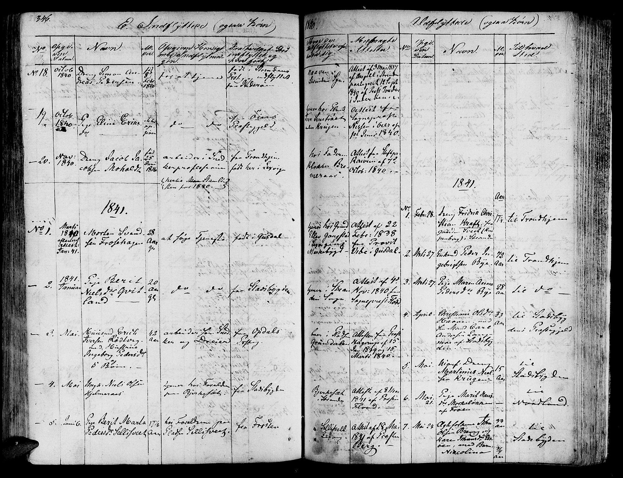 SAT, Ministerialprotokoller, klokkerbøker og fødselsregistre - Nord-Trøndelag, 701/L0006: Ministerialbok nr. 701A06, 1825-1841, s. 346