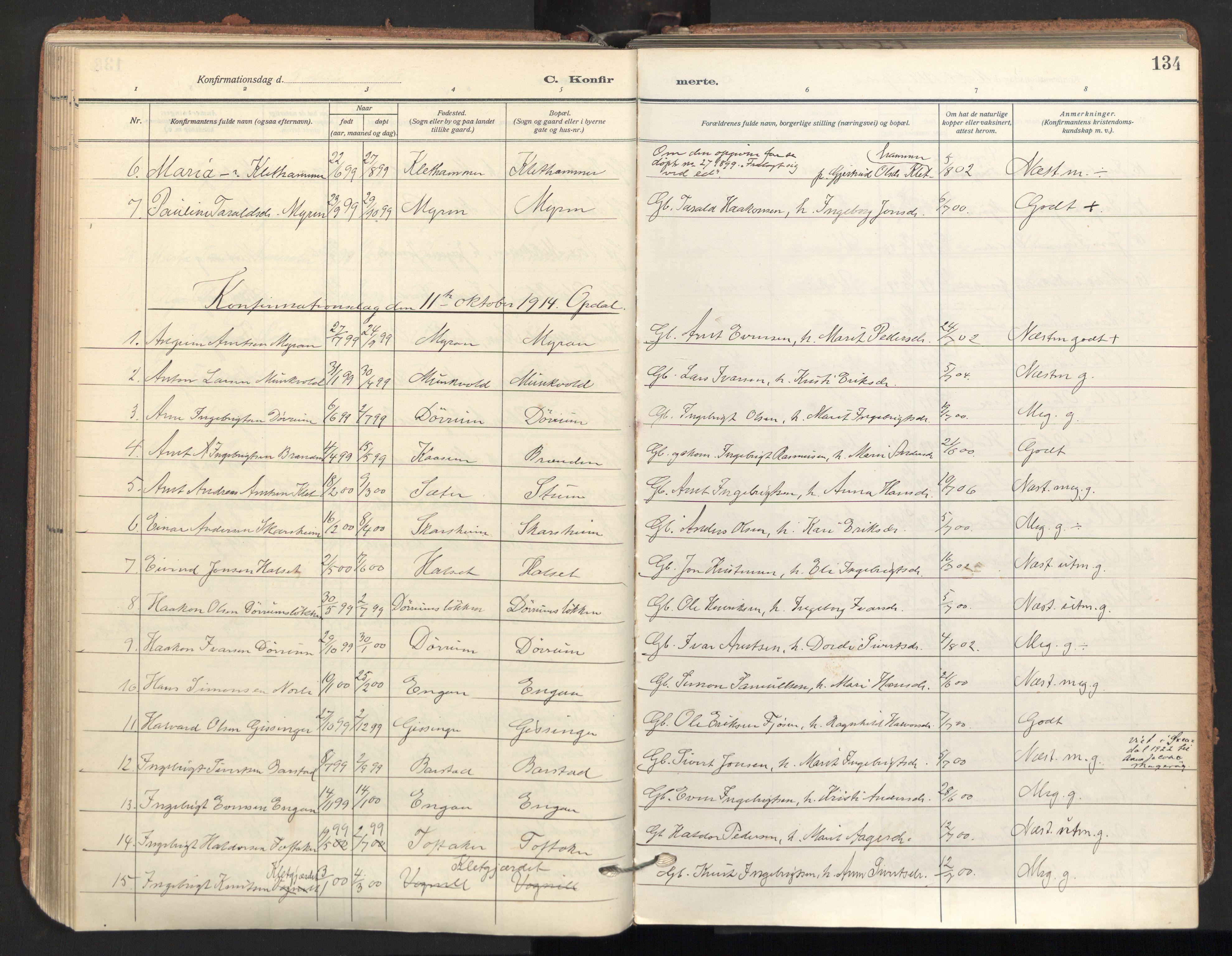 SAT, Ministerialprotokoller, klokkerbøker og fødselsregistre - Sør-Trøndelag, 678/L0909: Ministerialbok nr. 678A17, 1912-1930, s. 134
