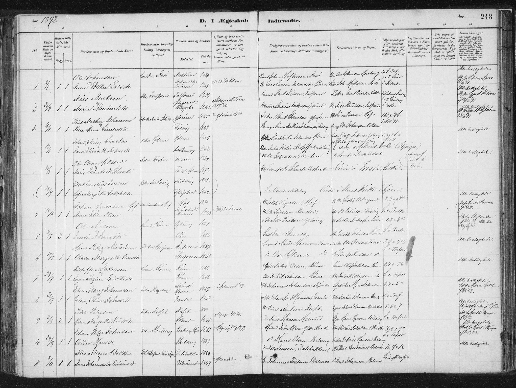 SAT, Ministerialprotokoller, klokkerbøker og fødselsregistre - Sør-Trøndelag, 659/L0739: Ministerialbok nr. 659A09, 1879-1893, s. 243