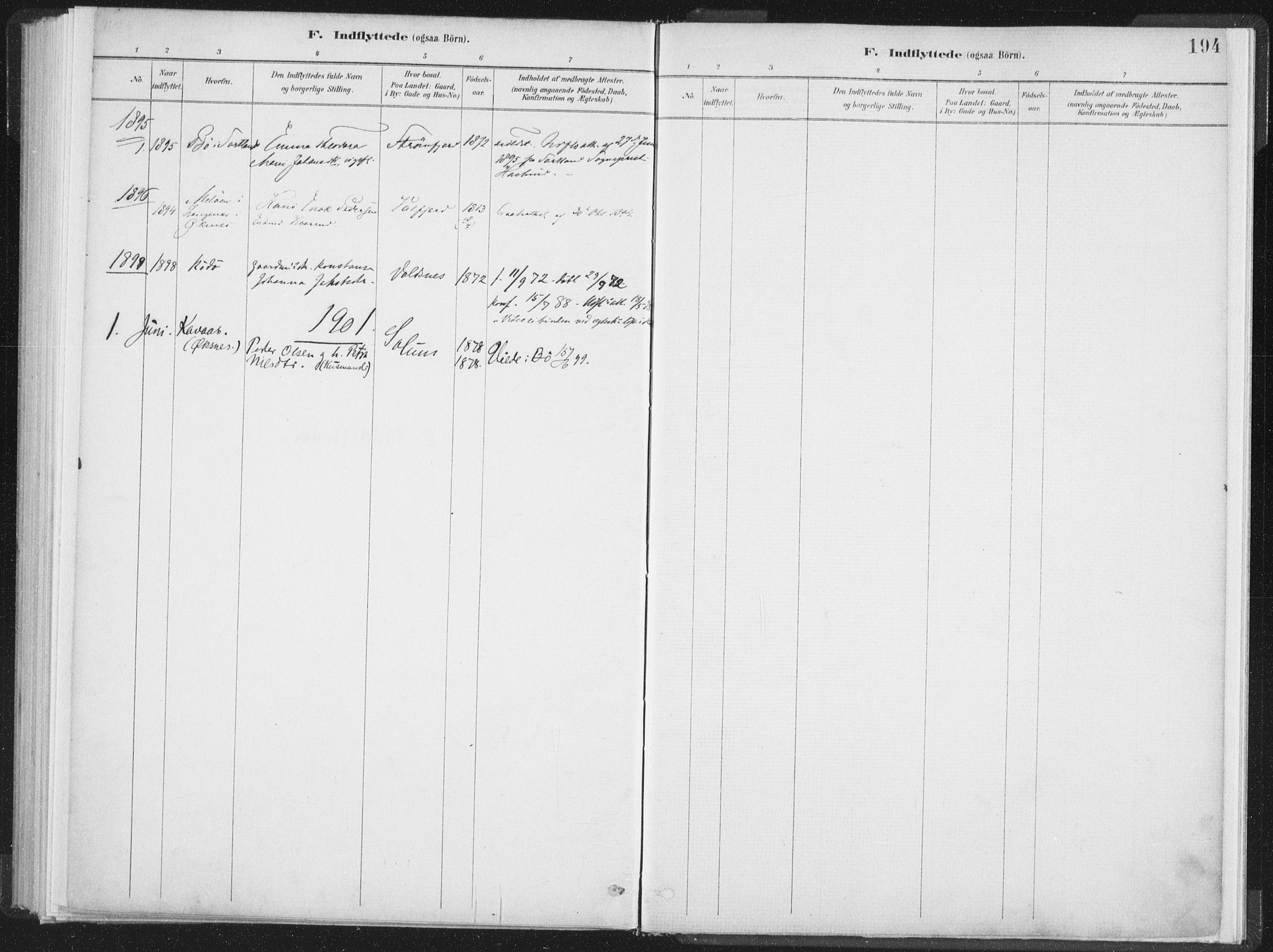 SAT, Ministerialprotokoller, klokkerbøker og fødselsregistre - Nordland, 890/L1286: Ministerialbok nr. 890A01, 1882-1902, s. 194