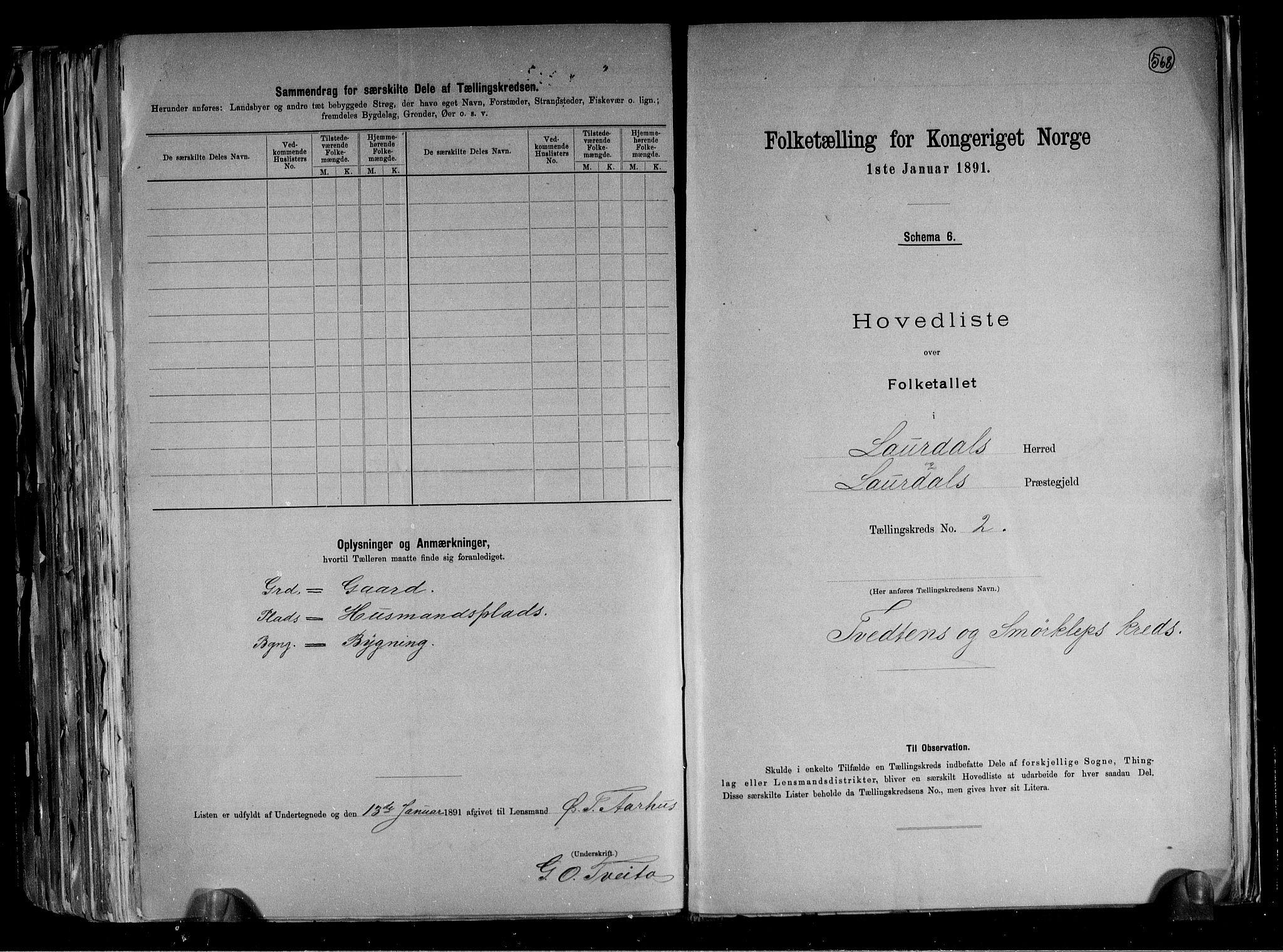 RA, Folketelling 1891 for 0833 Lårdal herred, 1891, s. 6
