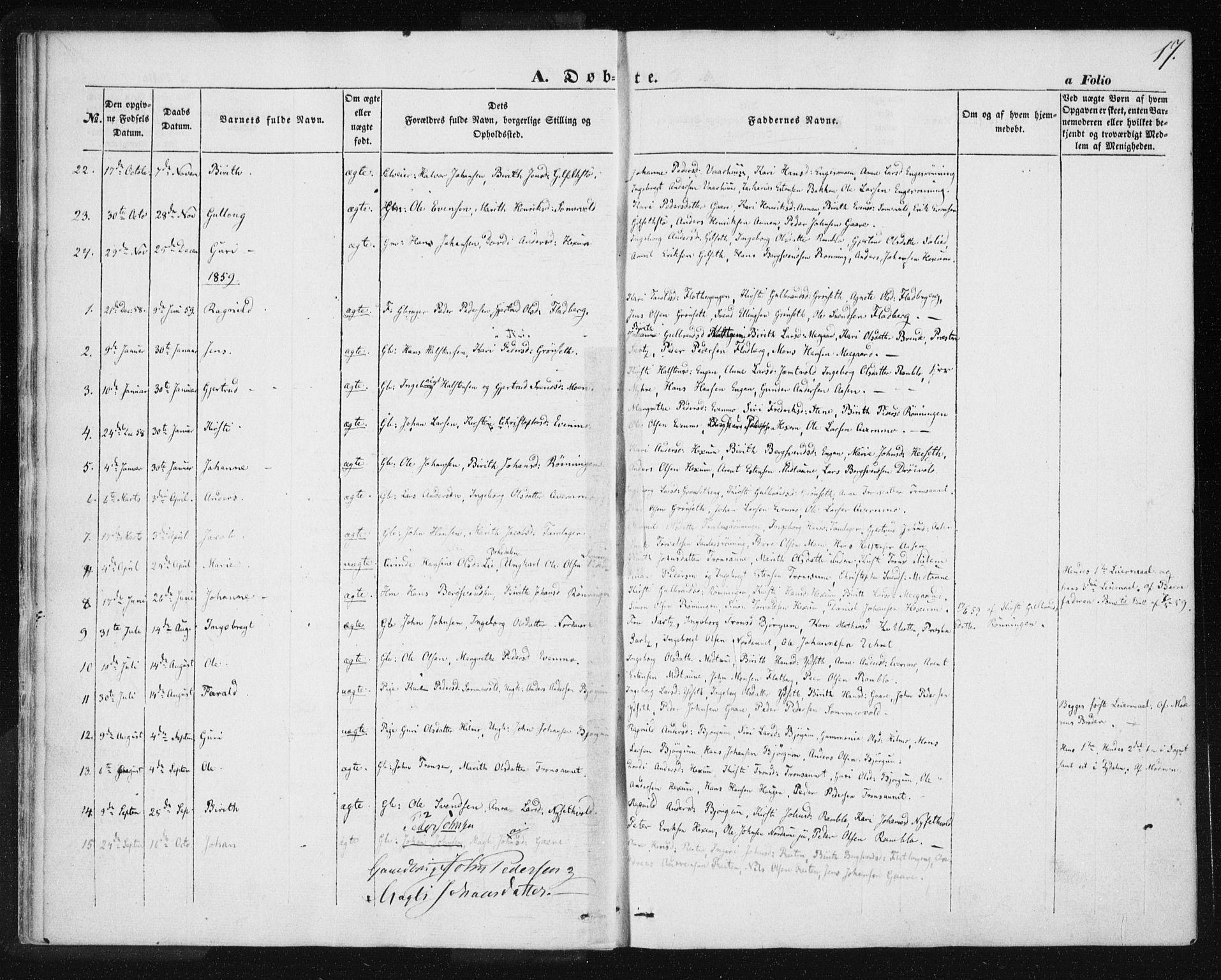 SAT, Ministerialprotokoller, klokkerbøker og fødselsregistre - Sør-Trøndelag, 685/L0963: Ministerialbok nr. 685A06 /1, 1846-1859, s. 17