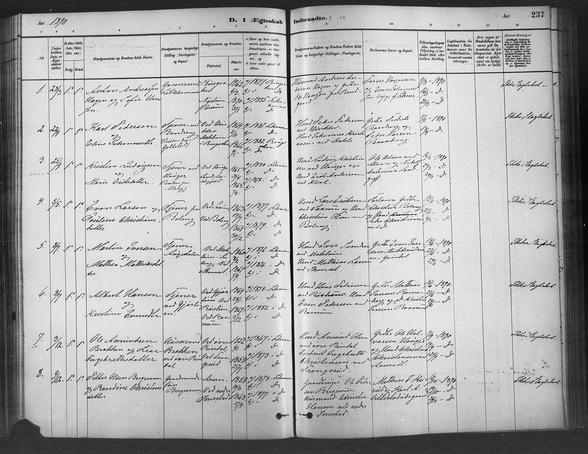 SAH, Fåberg prestekontor, Ministerialbok nr. 9, 1879-1898, s. 237