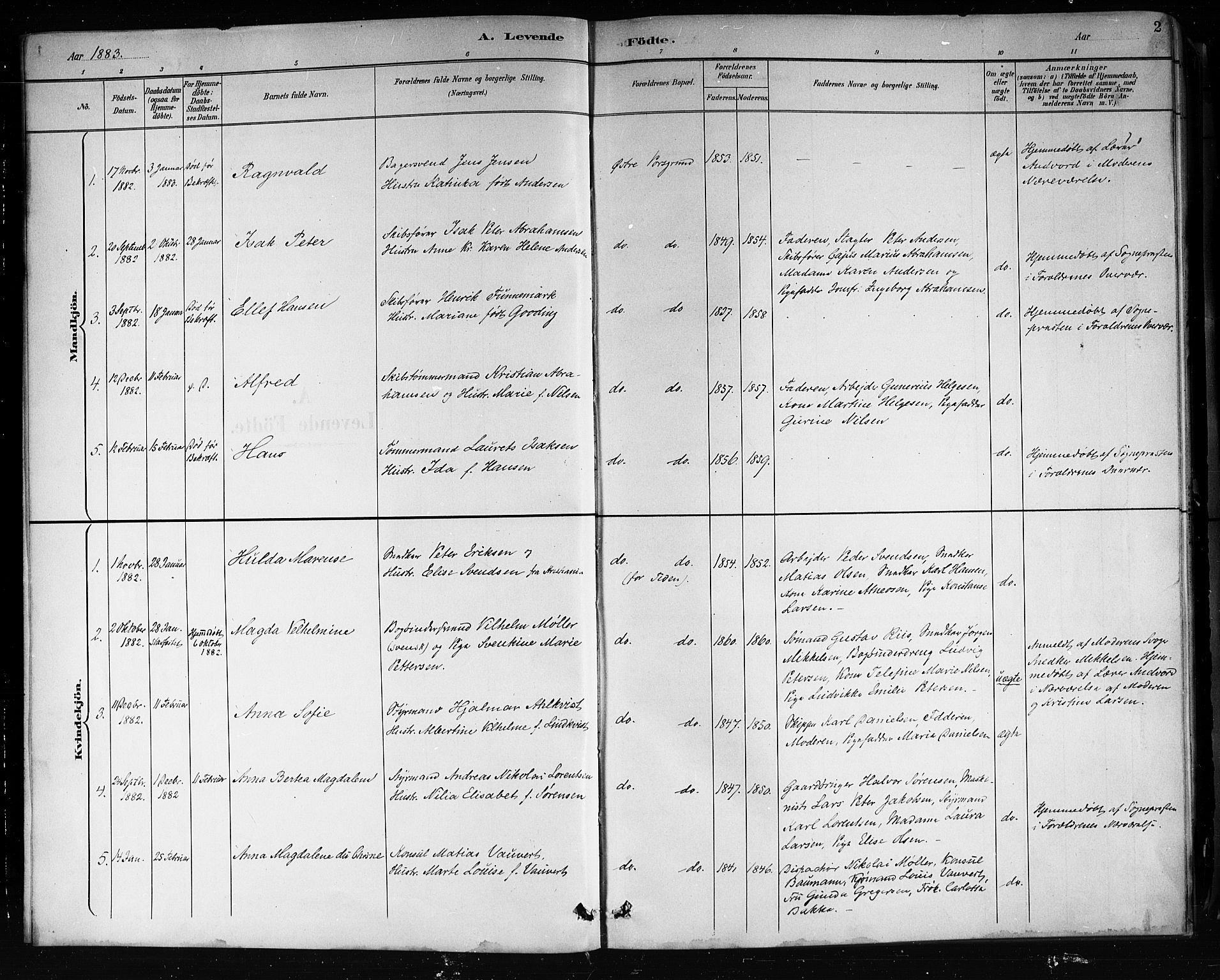 SAKO, Porsgrunn kirkebøker , G/Gb/L0005: Klokkerbok nr. II 5, 1883-1915, s. 2