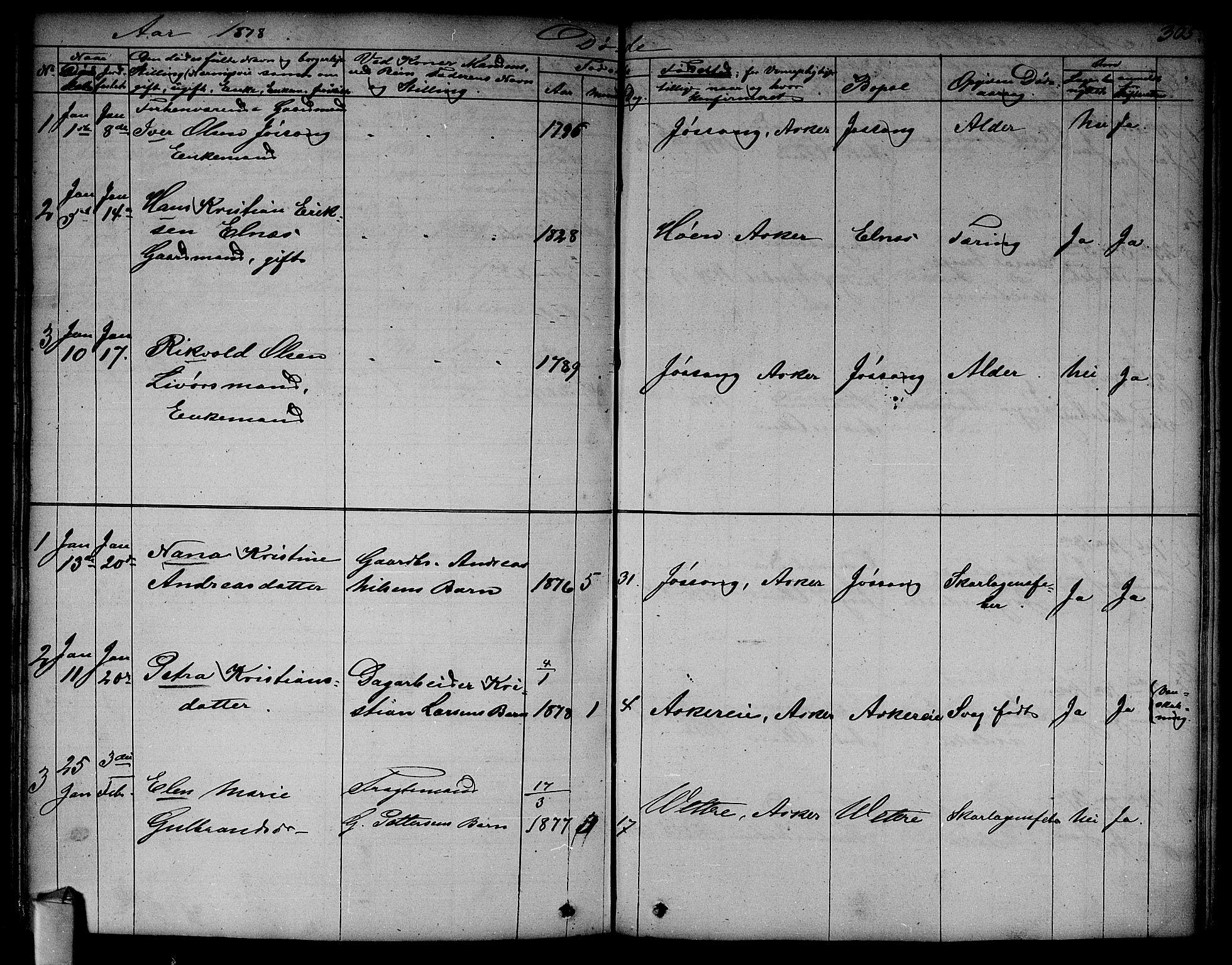 SAO, Asker prestekontor Kirkebøker, F/Fa/L0011: Ministerialbok nr. I 11, 1825-1878, s. 305