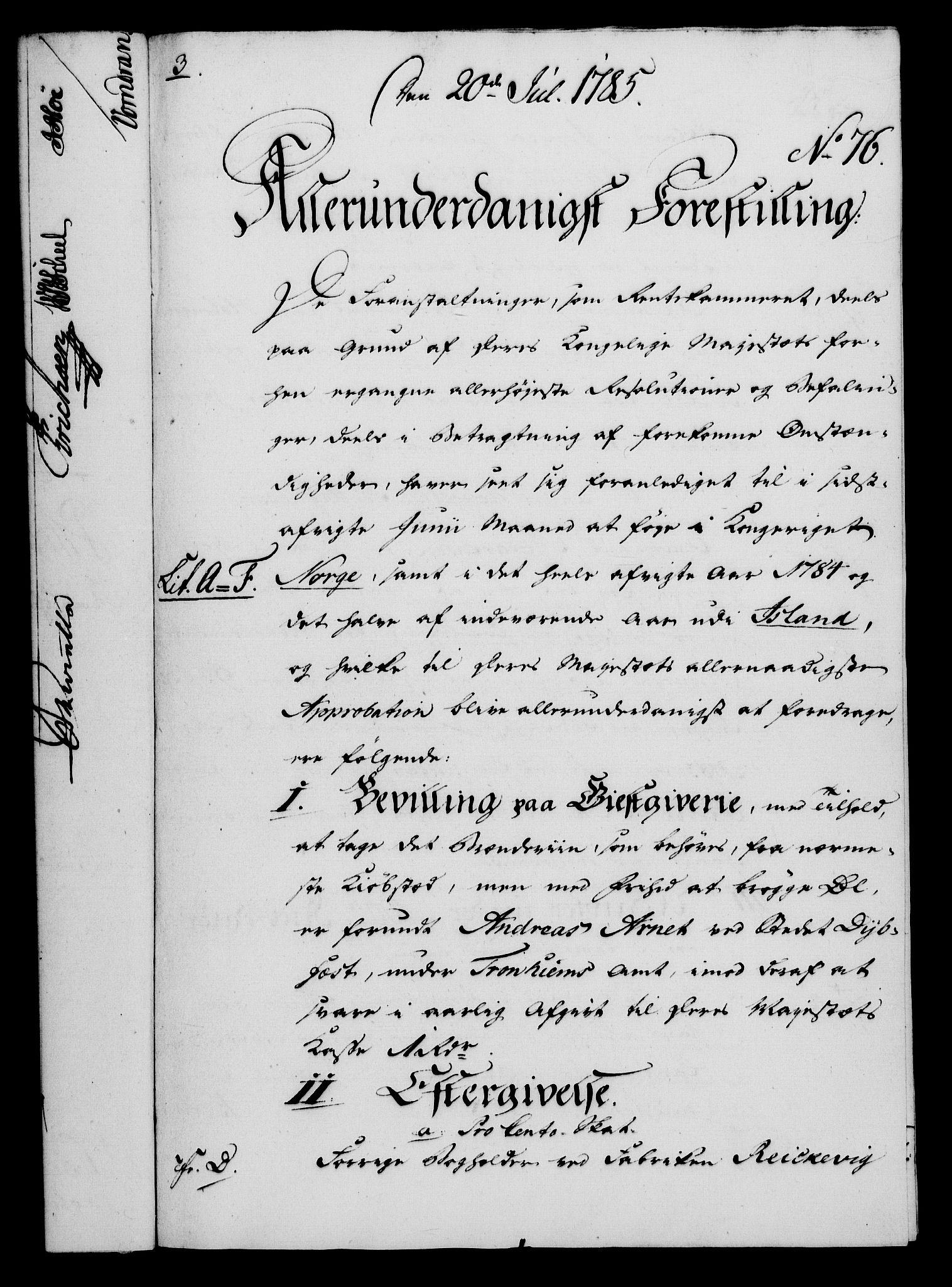 RA, Rentekammeret, Kammerkanselliet, G/Gf/Gfa/L0067: Norsk relasjons- og resolusjonsprotokoll (merket RK 52.67), 1785, s. 655