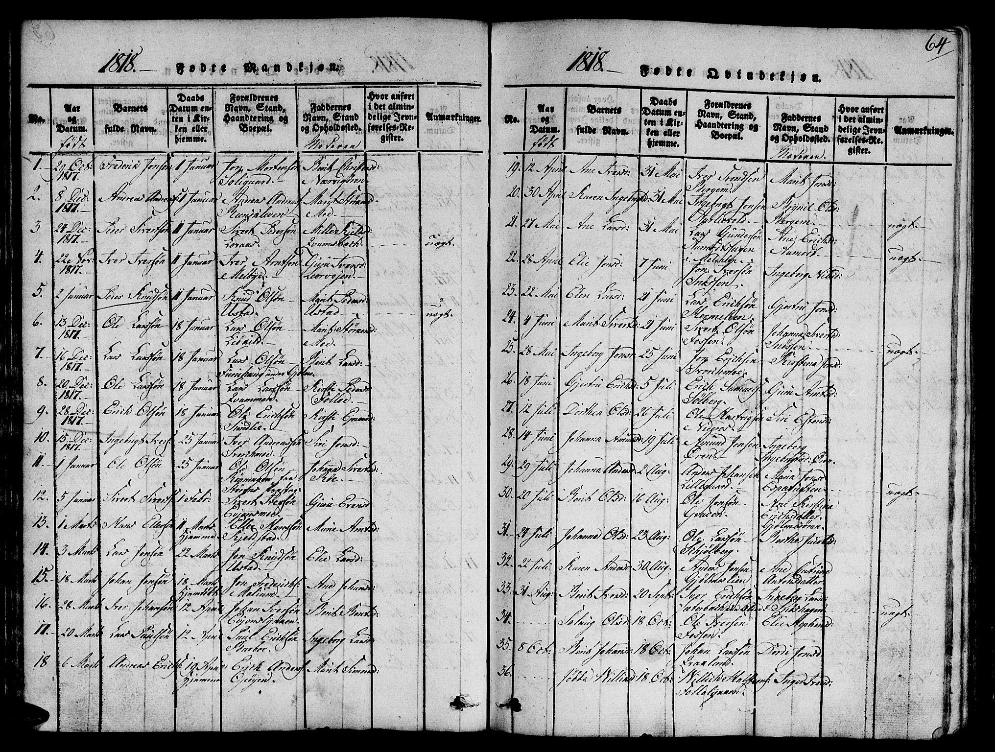 SAT, Ministerialprotokoller, klokkerbøker og fødselsregistre - Sør-Trøndelag, 668/L0803: Ministerialbok nr. 668A03, 1800-1826, s. 64