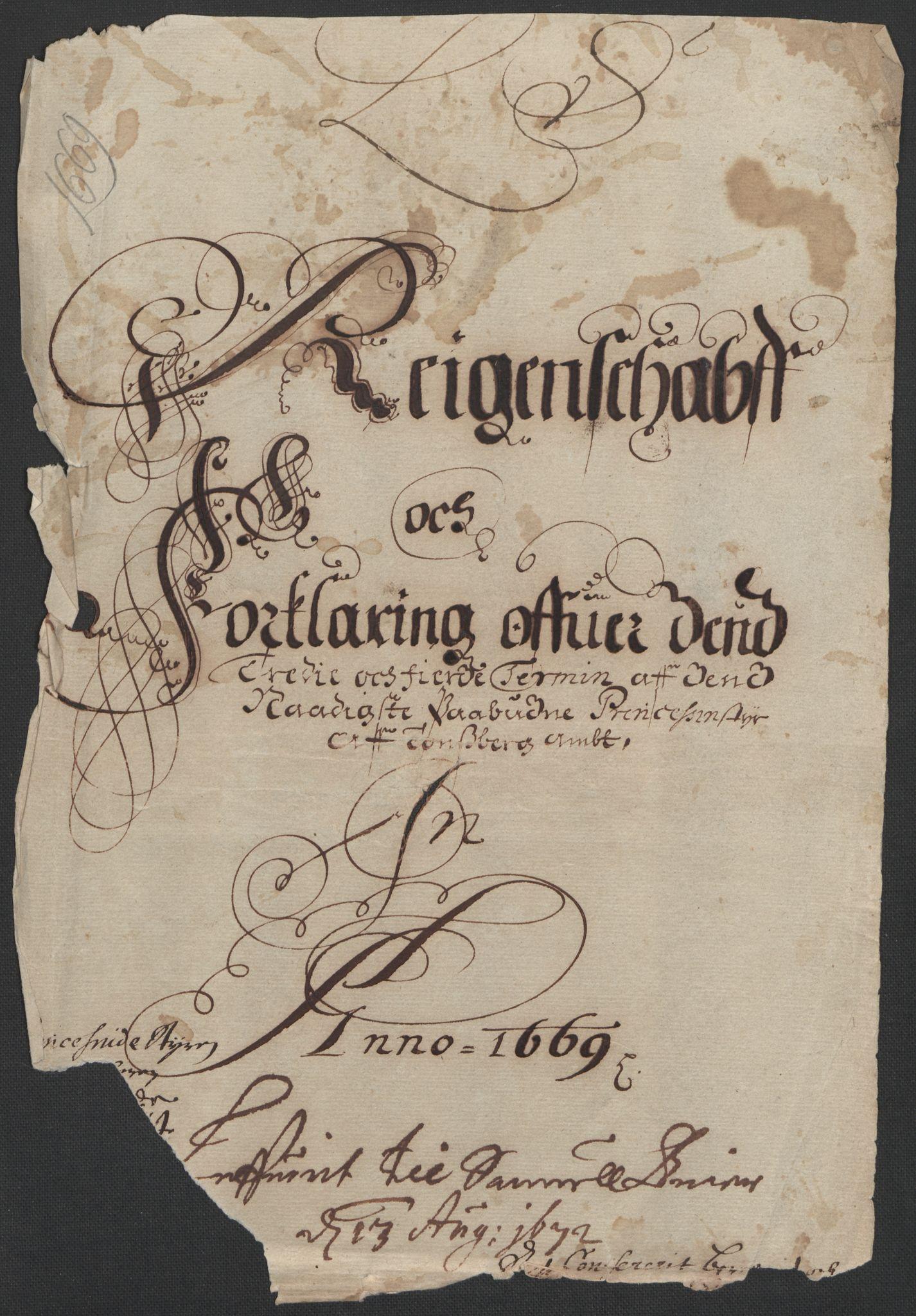 RA, Rentekammeret inntil 1814, Reviderte regnskaper, Fogderegnskap, R32/L1840: Fogderegnskap Jarlsberg grevskap, 1664-1673, s. 305