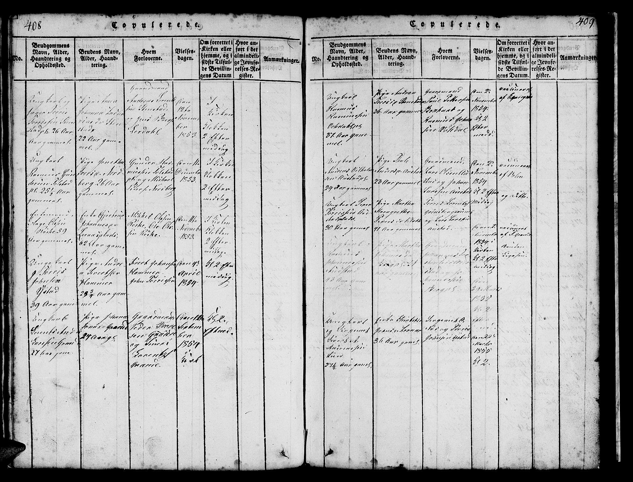 SAT, Ministerialprotokoller, klokkerbøker og fødselsregistre - Nord-Trøndelag, 731/L0310: Klokkerbok nr. 731C01, 1816-1874, s. 408-409
