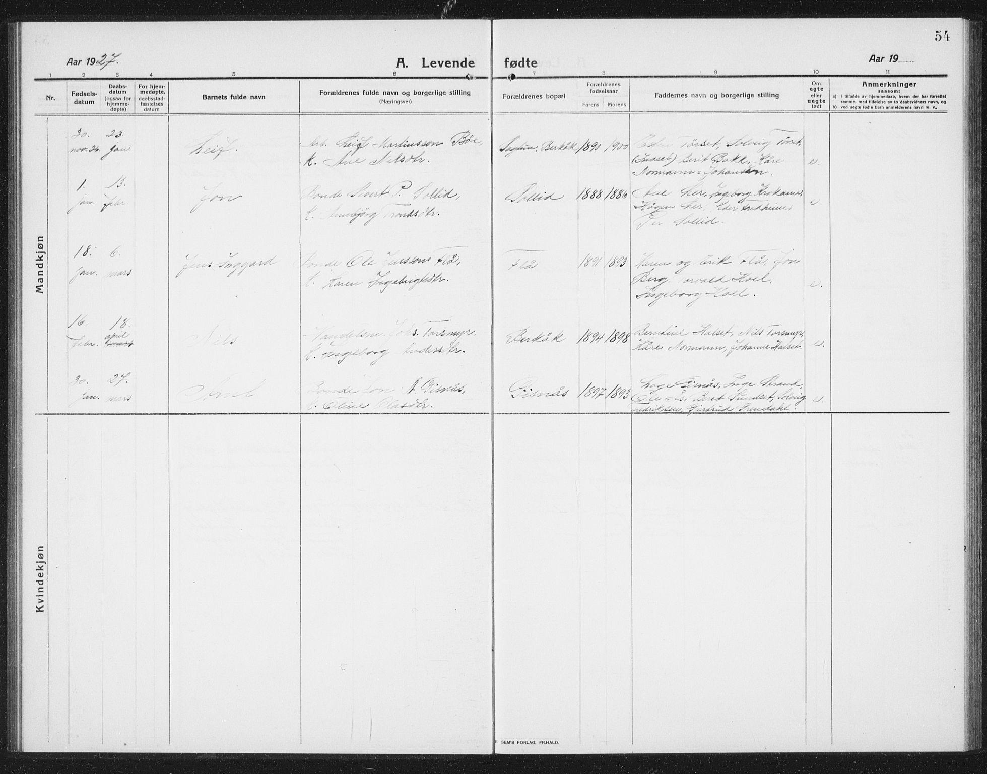 SAT, Ministerialprotokoller, klokkerbøker og fødselsregistre - Sør-Trøndelag, 675/L0888: Klokkerbok nr. 675C01, 1913-1935, s. 54