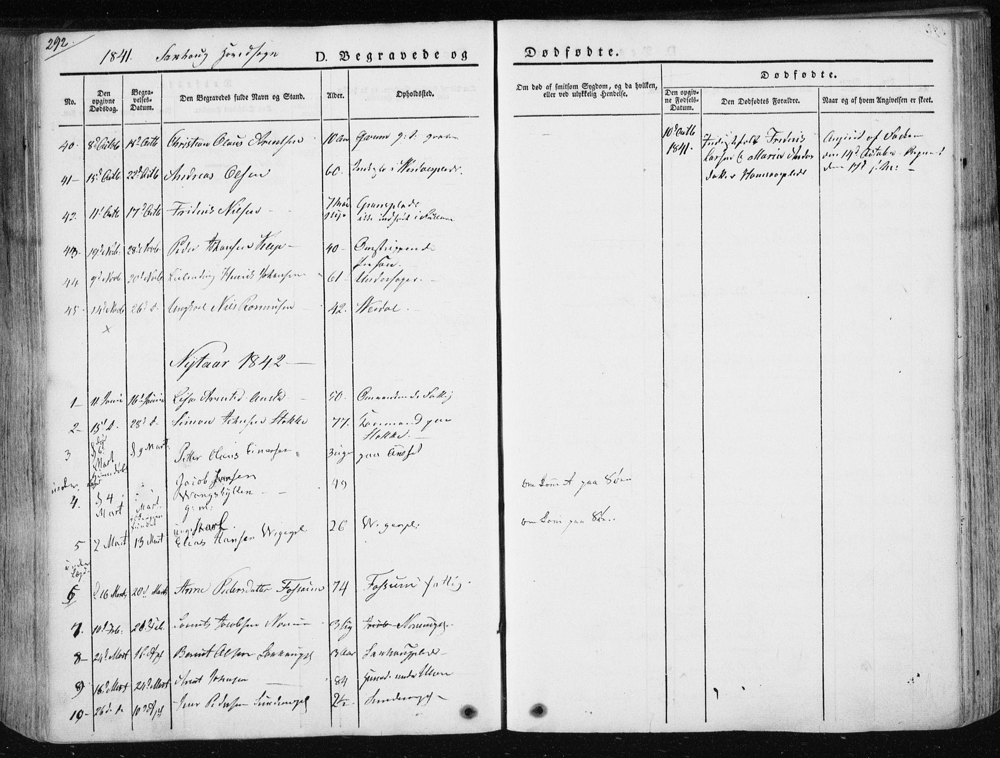SAT, Ministerialprotokoller, klokkerbøker og fødselsregistre - Nord-Trøndelag, 730/L0280: Ministerialbok nr. 730A07 /1, 1840-1854, s. 292