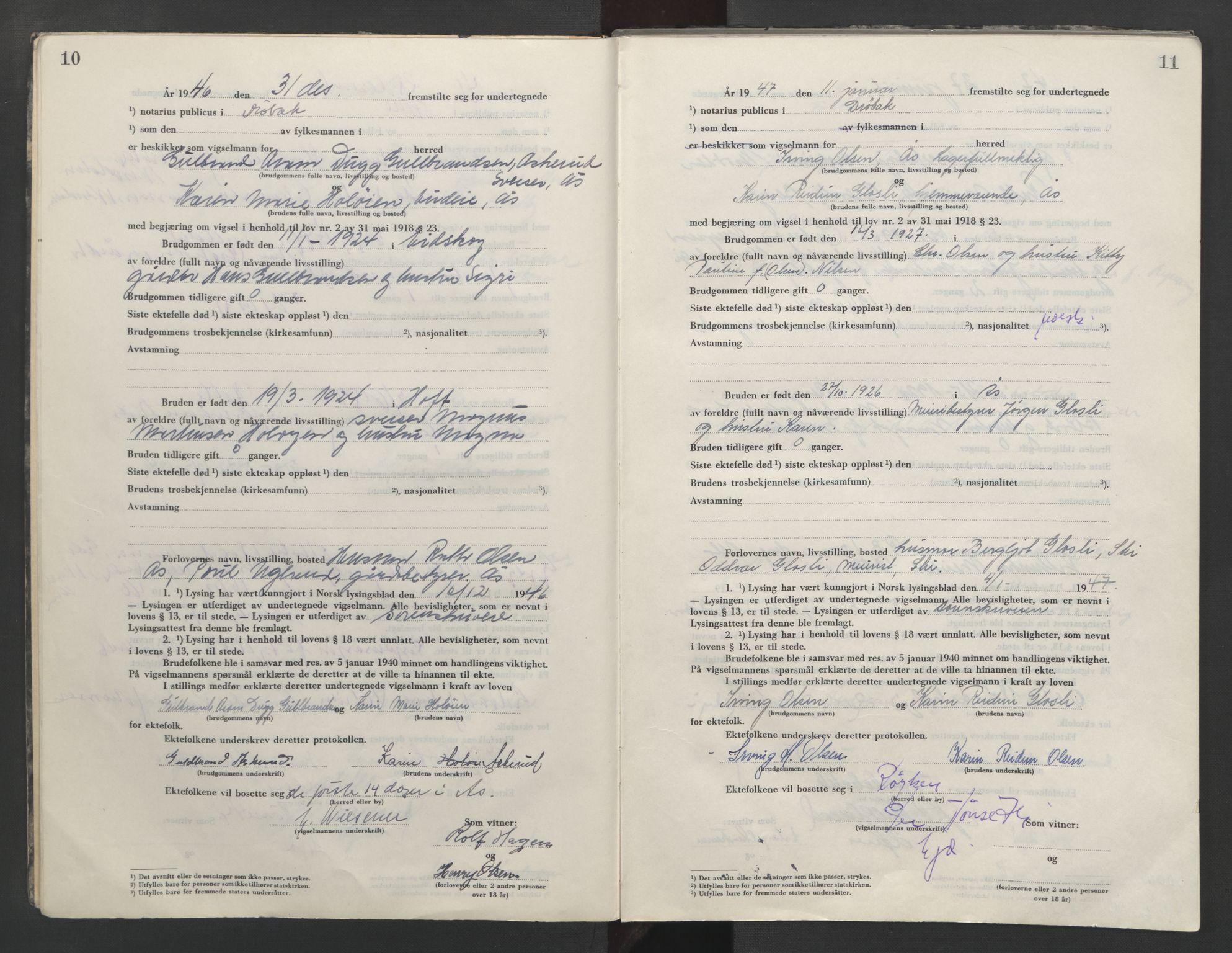 SAO, Follo sorenskriveri, L/La/Lab/L0003: Vigselsbok, 1946-1955, s. 10-11