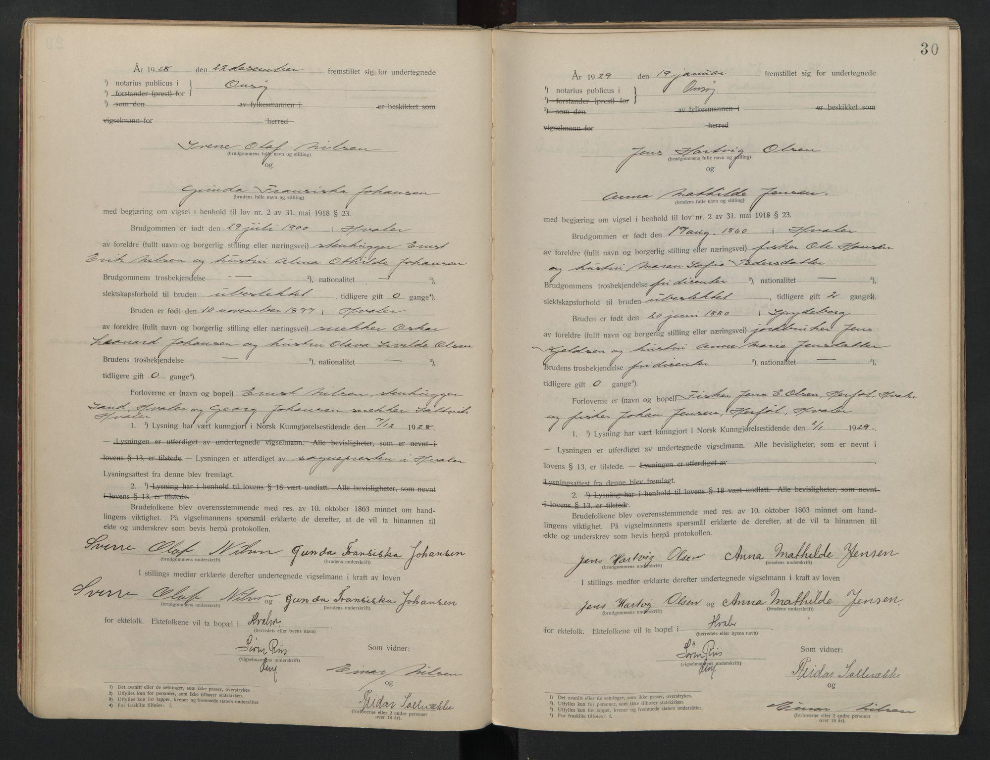 SAO, Onsøy sorenskriveri, L/La/L0001: Vigselsbok, 1920-1942, s. 30