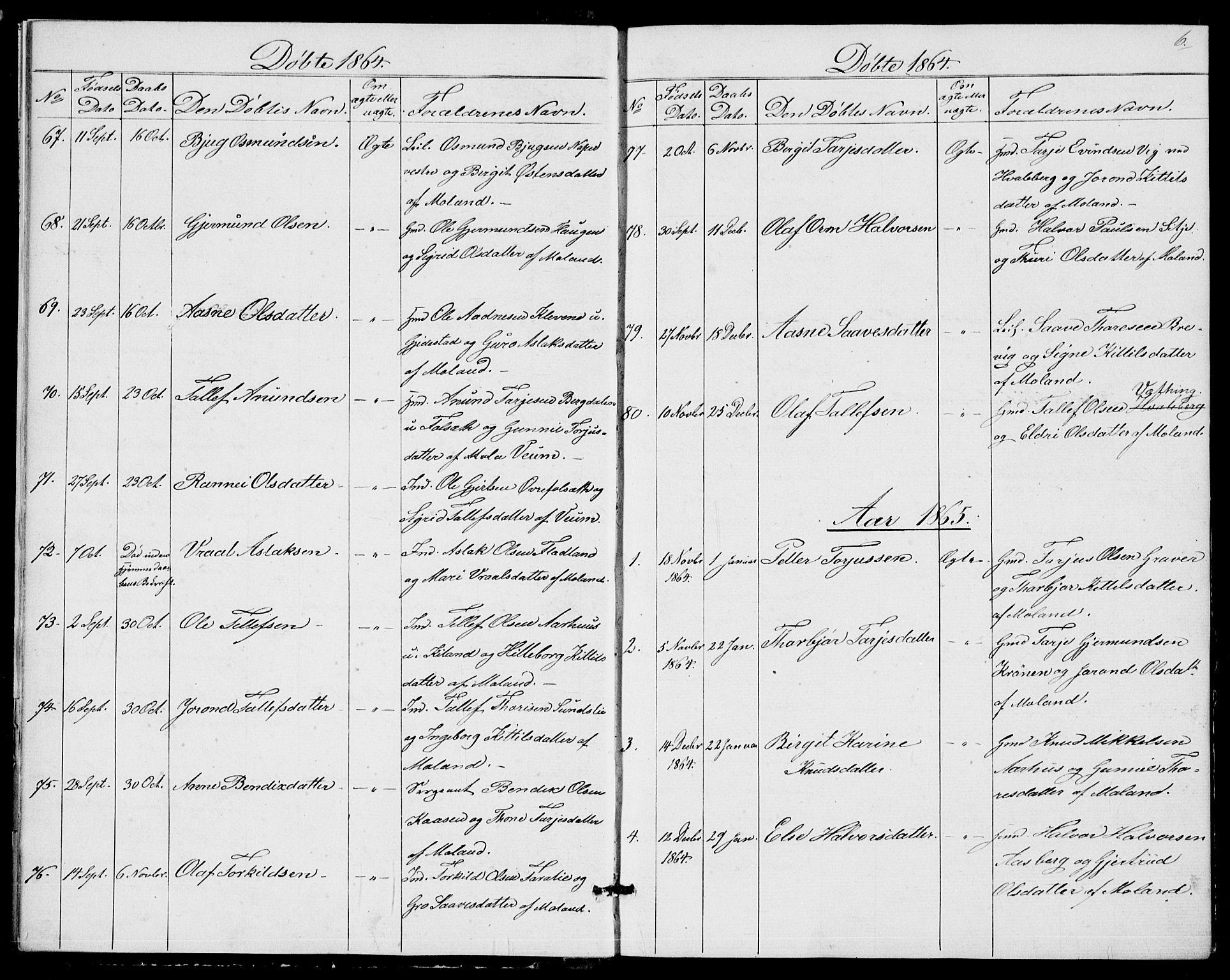 SAKO, Fyresdal kirkebøker, G/Ga/L0004: Klokkerbok nr. I 4, 1864-1892, s. 6
