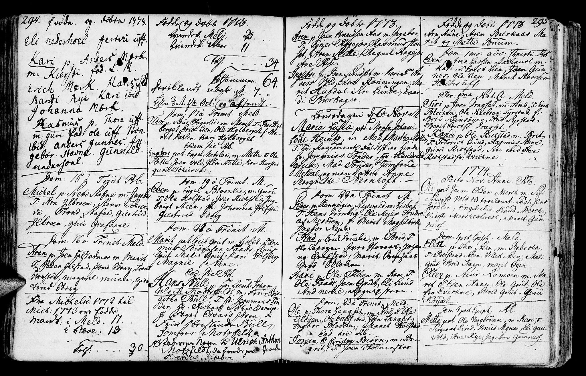 SAT, Ministerialprotokoller, klokkerbøker og fødselsregistre - Sør-Trøndelag, 672/L0851: Ministerialbok nr. 672A04, 1751-1775, s. 294-295