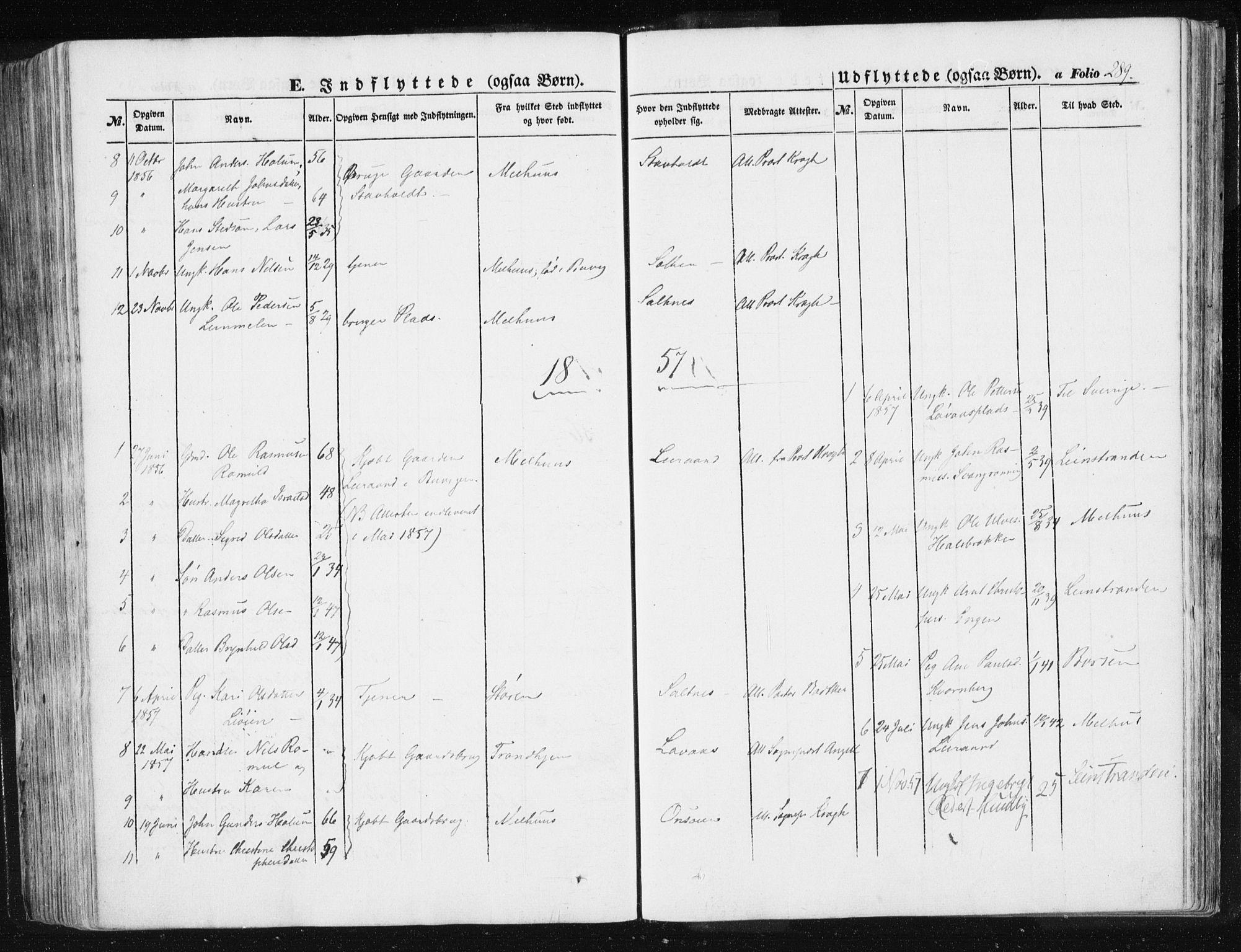 SAT, Ministerialprotokoller, klokkerbøker og fødselsregistre - Sør-Trøndelag, 612/L0376: Ministerialbok nr. 612A08, 1846-1859, s. 289