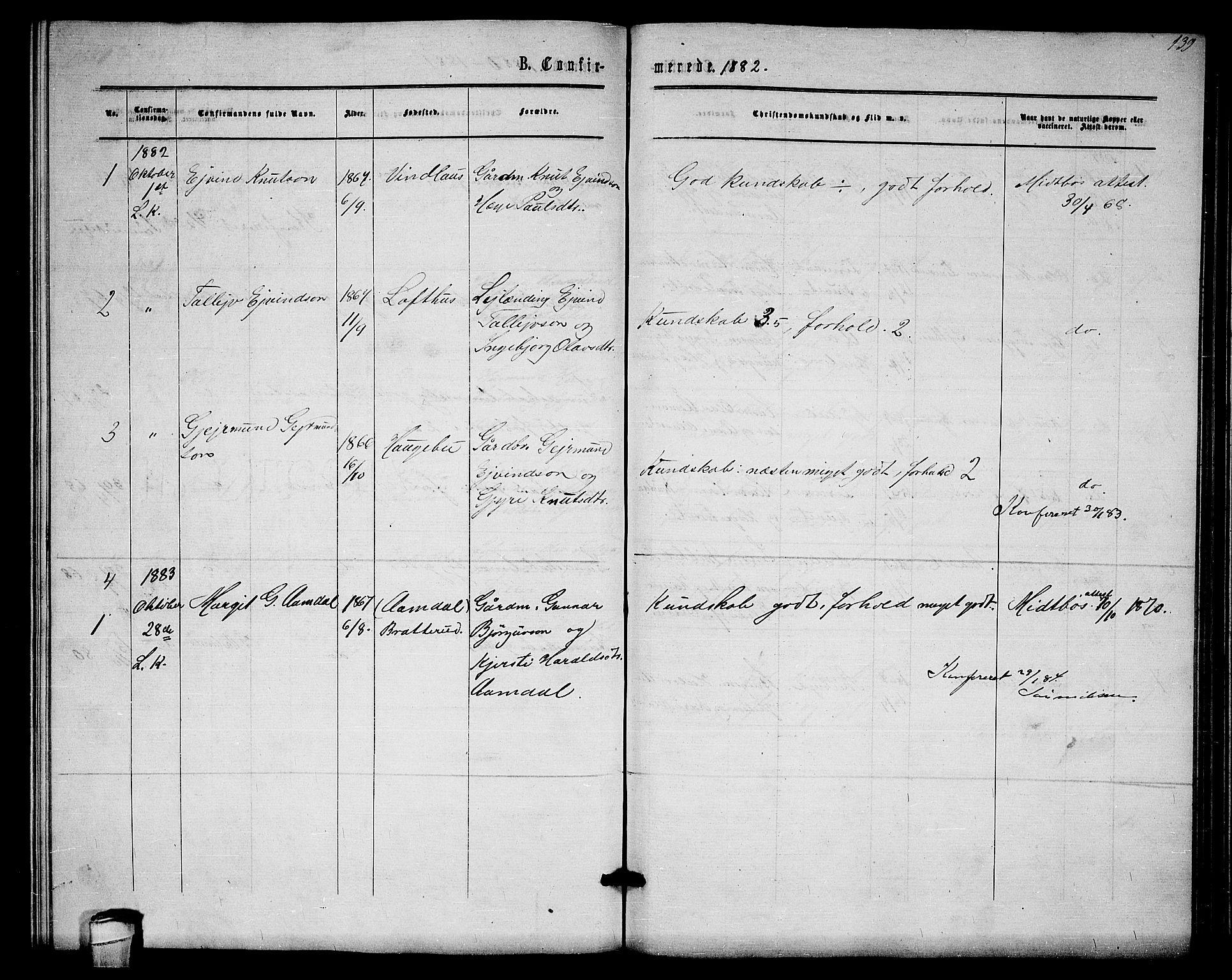 SAKO, Lårdal kirkebøker, G/Gb/L0002: Klokkerbok nr. II 2, 1865-1888, s. 139