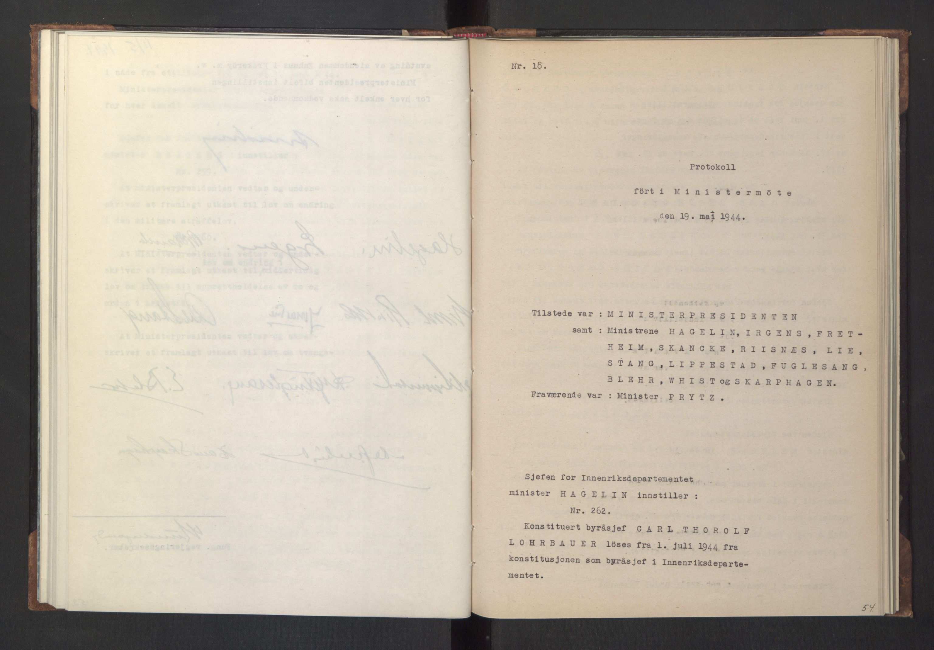 RA, NS-administrasjonen 1940-1945 (Statsrådsekretariatet, de kommisariske statsråder mm), D/Da/L0005: Protokoll fra ministermøter, 1944, s. 53b-54a