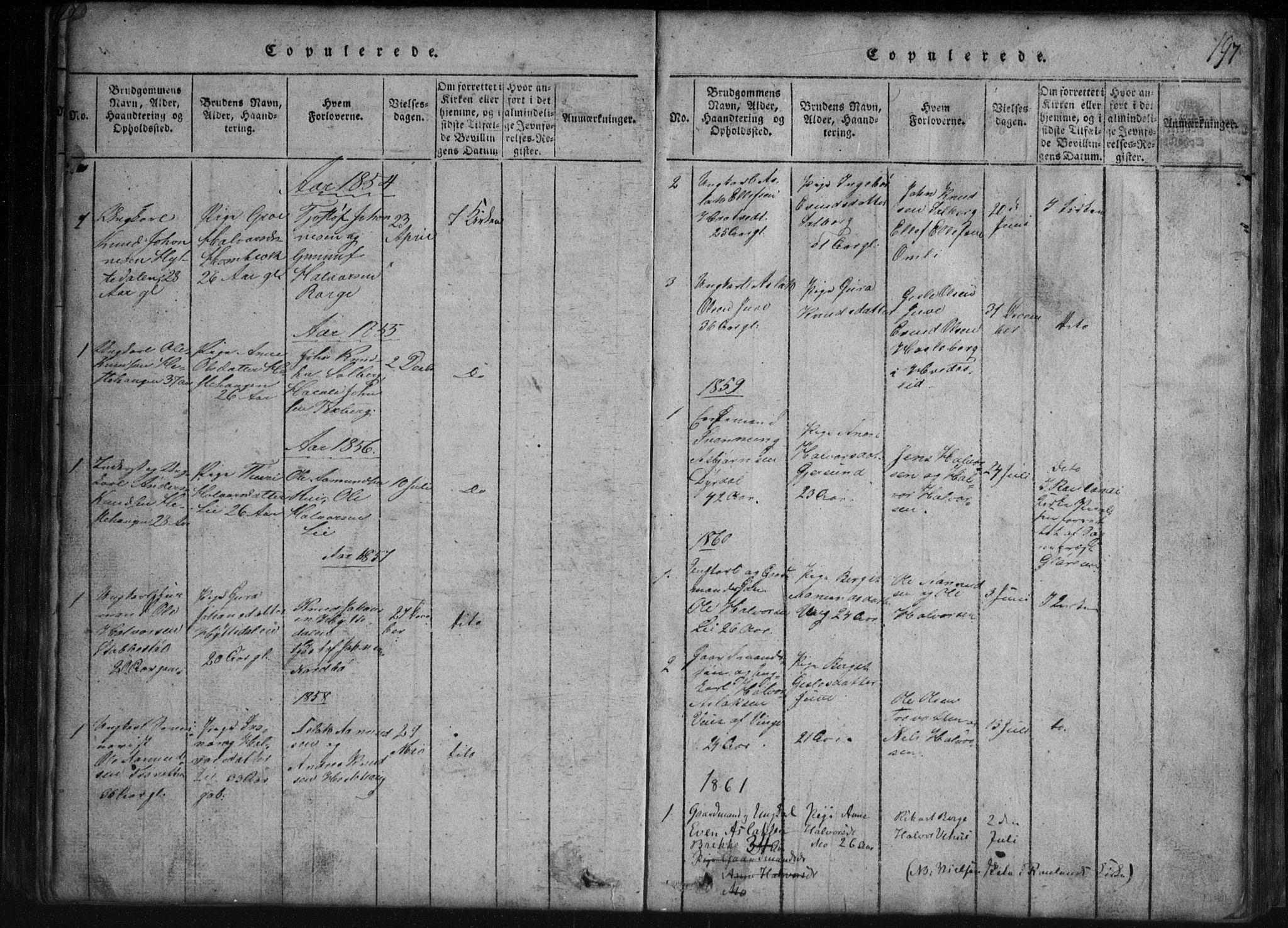 SAKO, Rauland kirkebøker, G/Gb/L0001: Klokkerbok nr. II 1, 1815-1886, s. 197