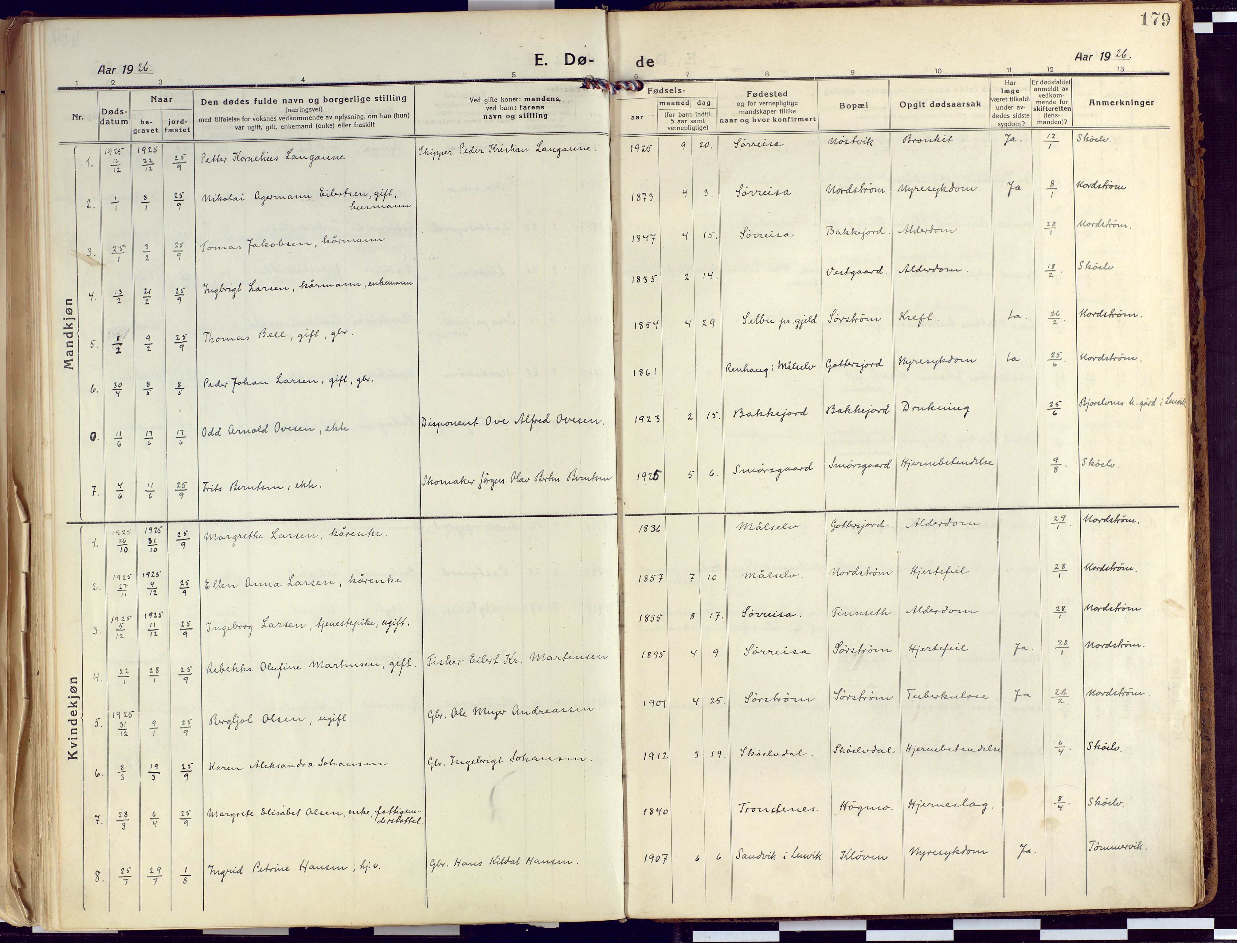 SATØ, Tranøy sokneprestkontor, I/Ia/Iaa/L0015kirke: Ministerialbok nr. 15, 1919-1928, s. 179