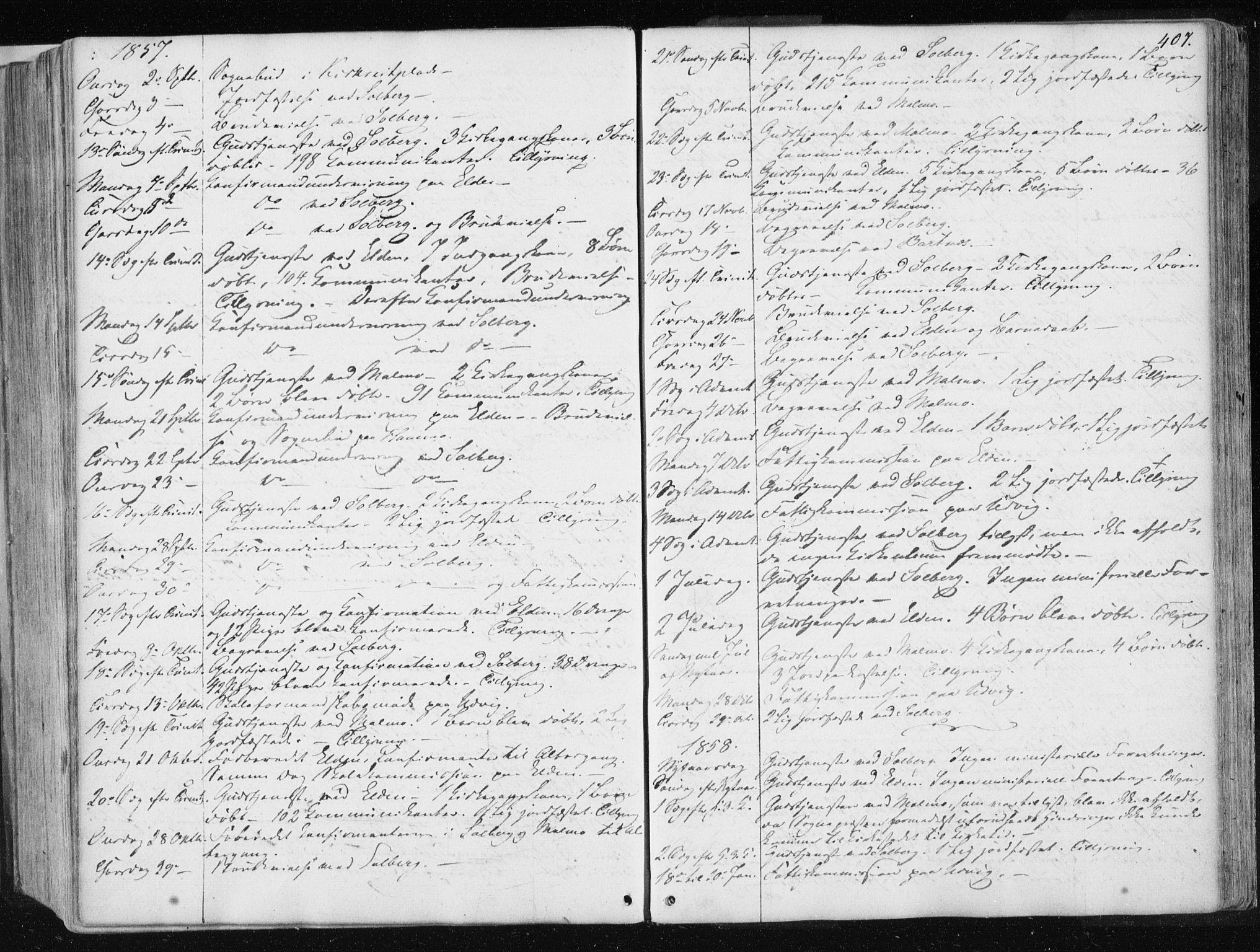 SAT, Ministerialprotokoller, klokkerbøker og fødselsregistre - Nord-Trøndelag, 741/L0393: Ministerialbok nr. 741A07, 1849-1863, s. 407