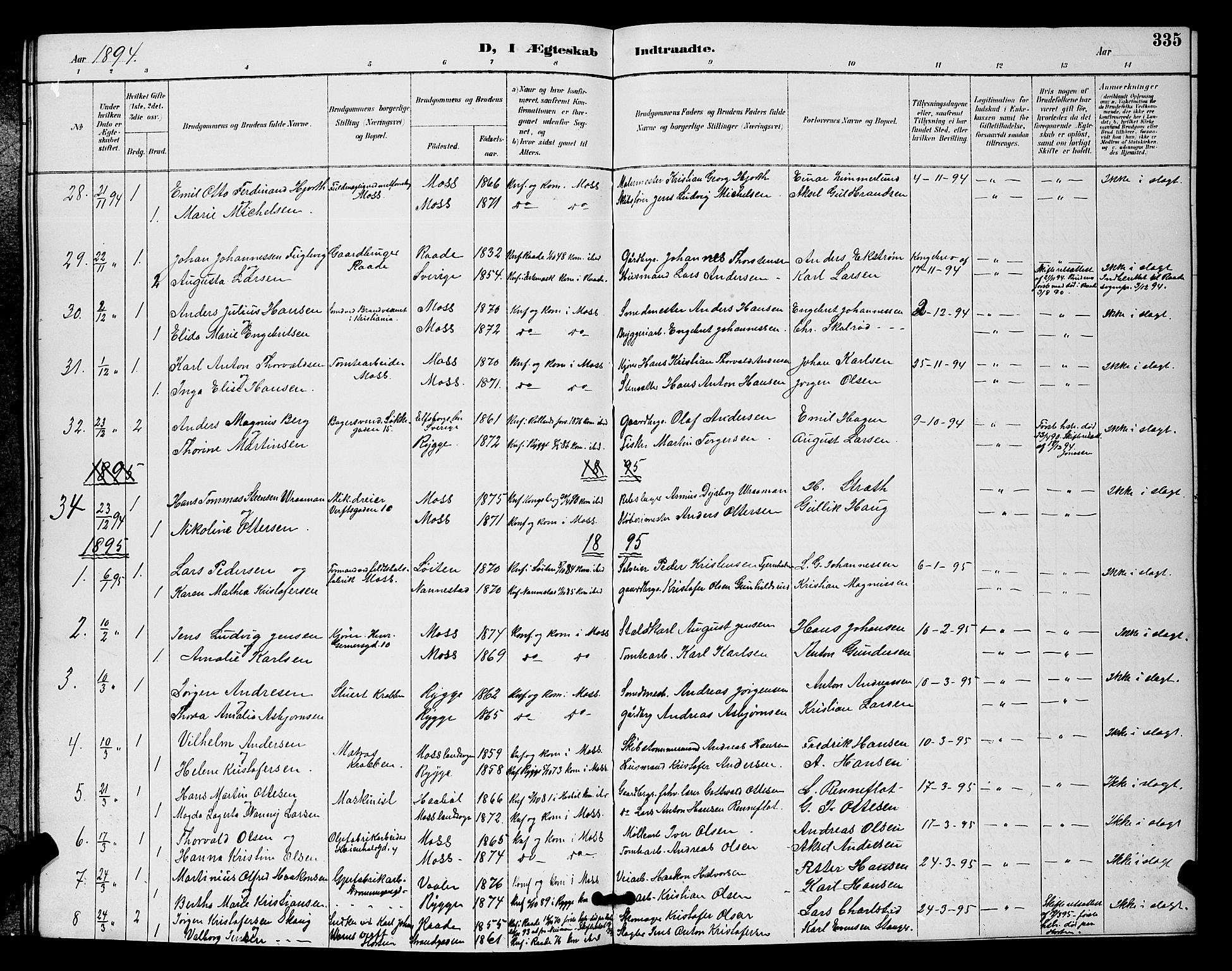 SAO, Moss prestekontor Kirkebøker, G/Ga/L0006: Klokkerbok nr. I 6, 1889-1900, s. 335