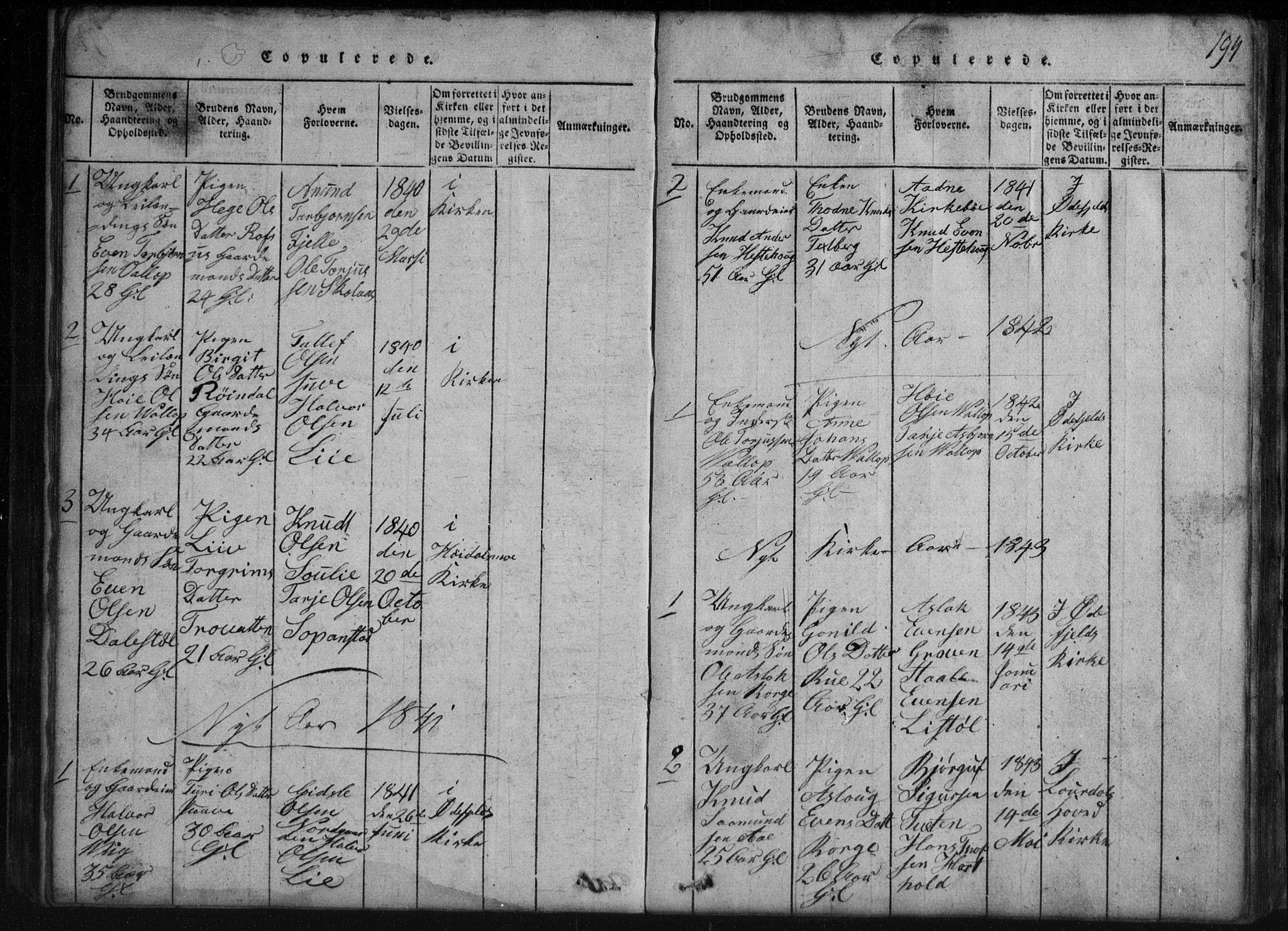 SAKO, Rauland kirkebøker, G/Gb/L0001: Klokkerbok nr. II 1, 1815-1886, s. 194