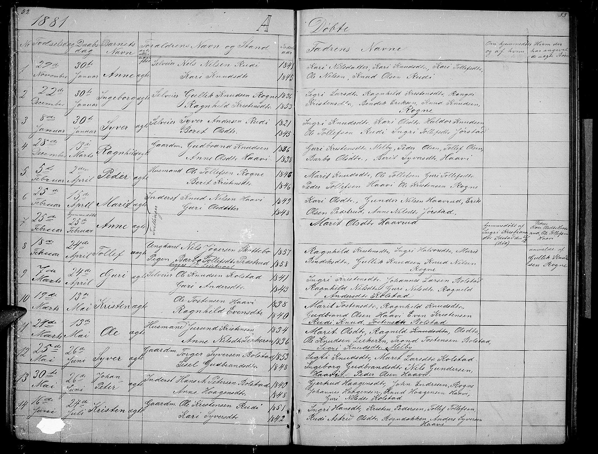 SAH, Øystre Slidre prestekontor, Klokkerbok nr. 3, 1866-1886, s. 52-53