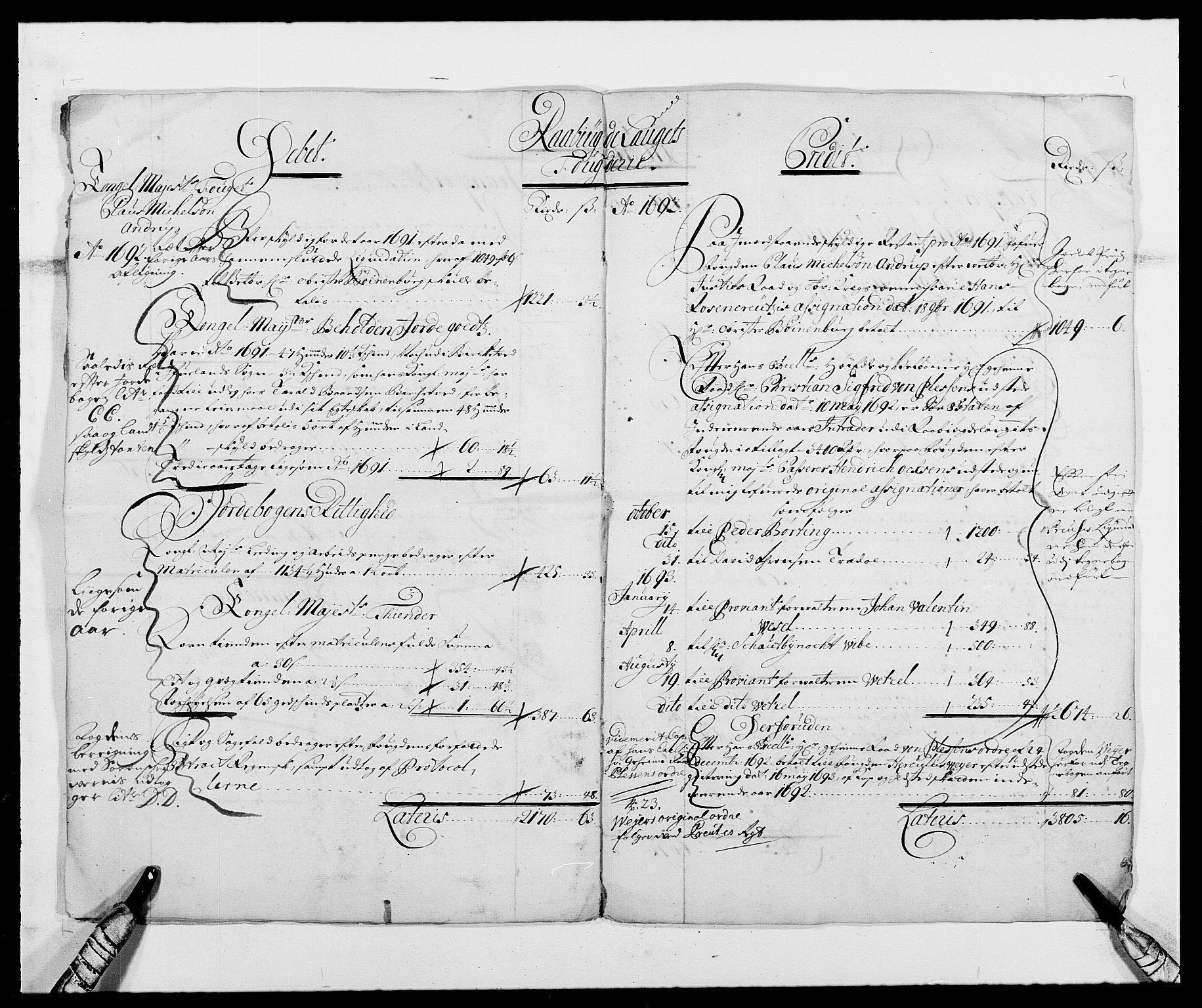 RA, Rentekammeret inntil 1814, Reviderte regnskaper, Fogderegnskap, R40/L2443: Fogderegnskap Råbyggelag, 1691-1692, s. 7