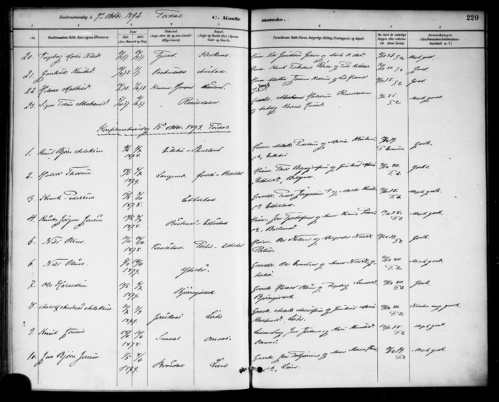 SAKO, Drangedal kirkebøker, F/Fa/L0010: Ministerialbok nr. 10 /2, 1885-1894, s. 220