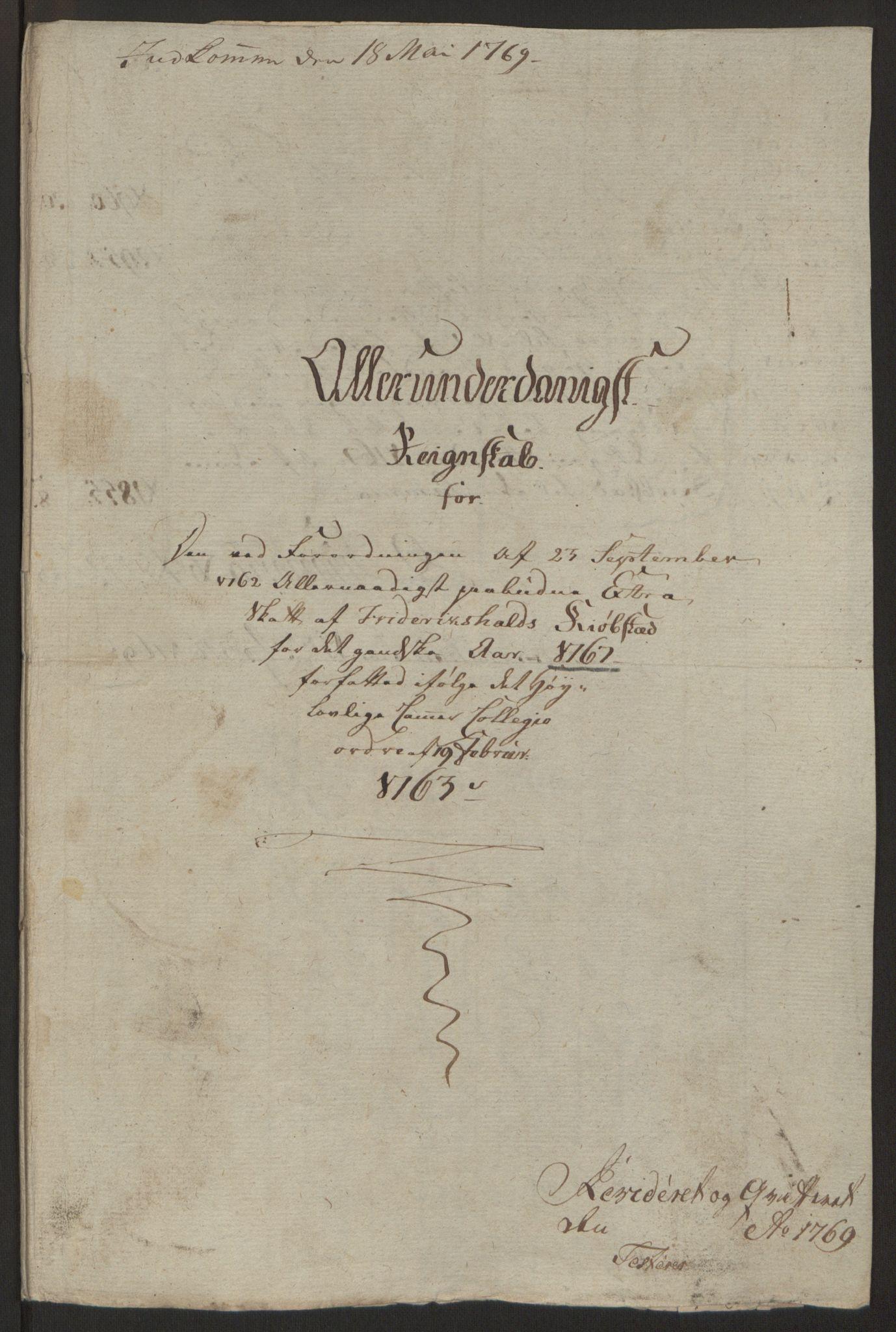 RA, Rentekammeret inntil 1814, Reviderte regnskaper, Byregnskaper, R/Ra/L0006: [A4] Kontribusjonsregnskap, 1762-1772, s. 137
