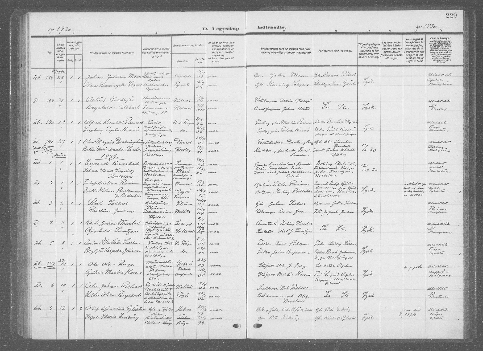 SAT, Ministerialprotokoller, klokkerbøker og fødselsregistre - Sør-Trøndelag, 601/L0098: Klokkerbok nr. 601C16, 1921-1934, s. 229
