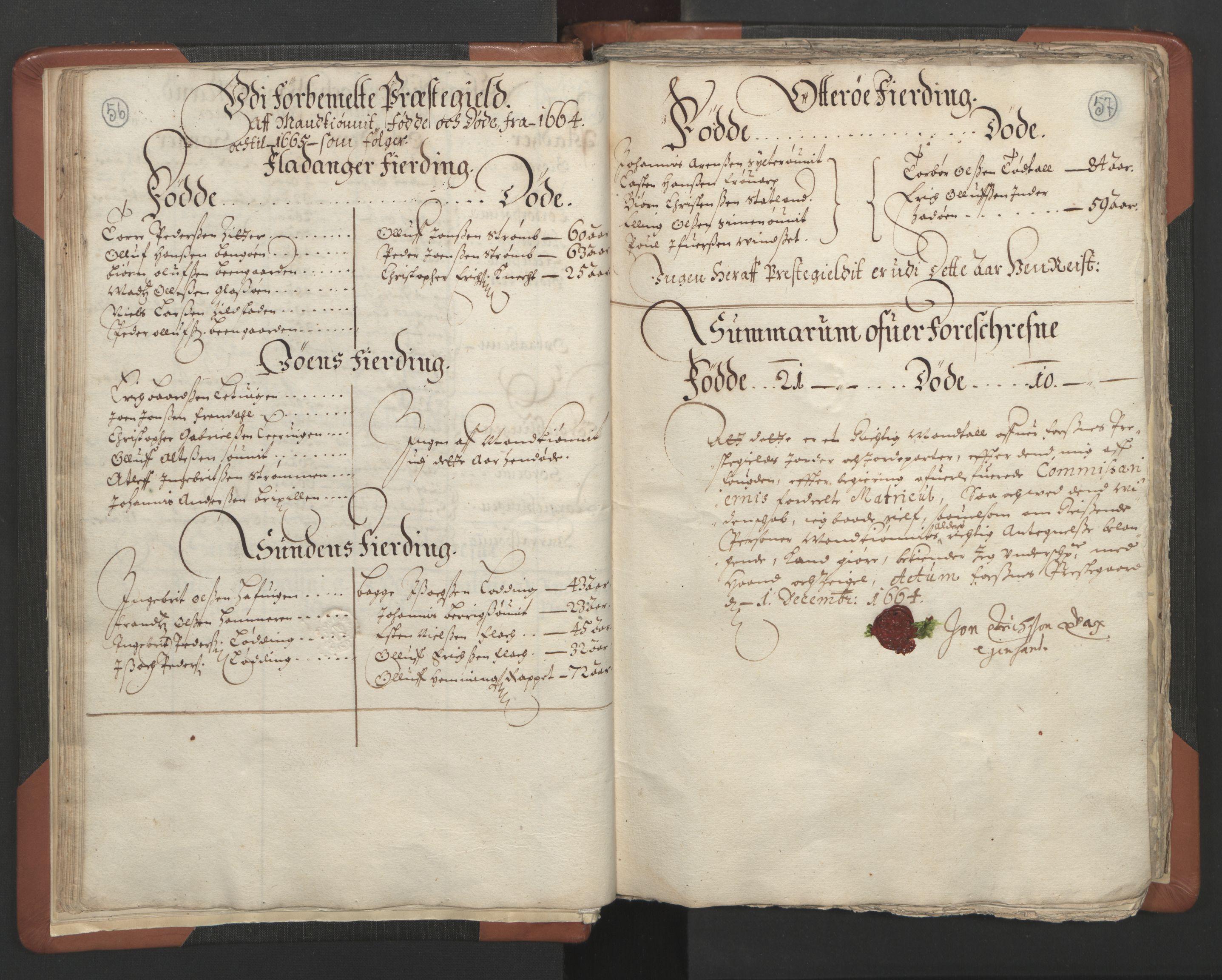 RA, Sogneprestenes manntall 1664-1666, nr. 34: Namdal prosti, 1664-1666, s. 56-57