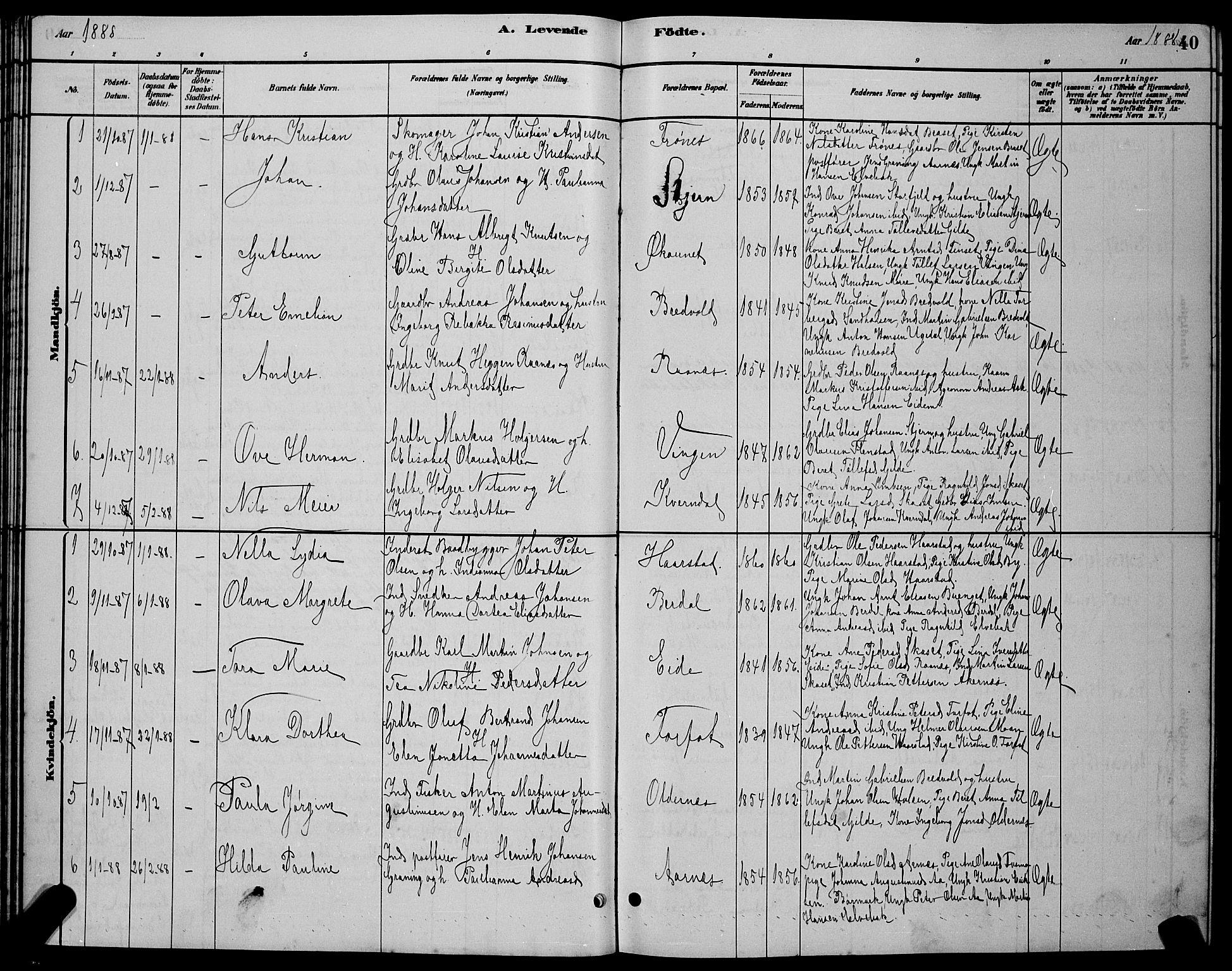 SAT, Ministerialprotokoller, klokkerbøker og fødselsregistre - Sør-Trøndelag, 655/L0687: Klokkerbok nr. 655C03, 1880-1898, s. 40