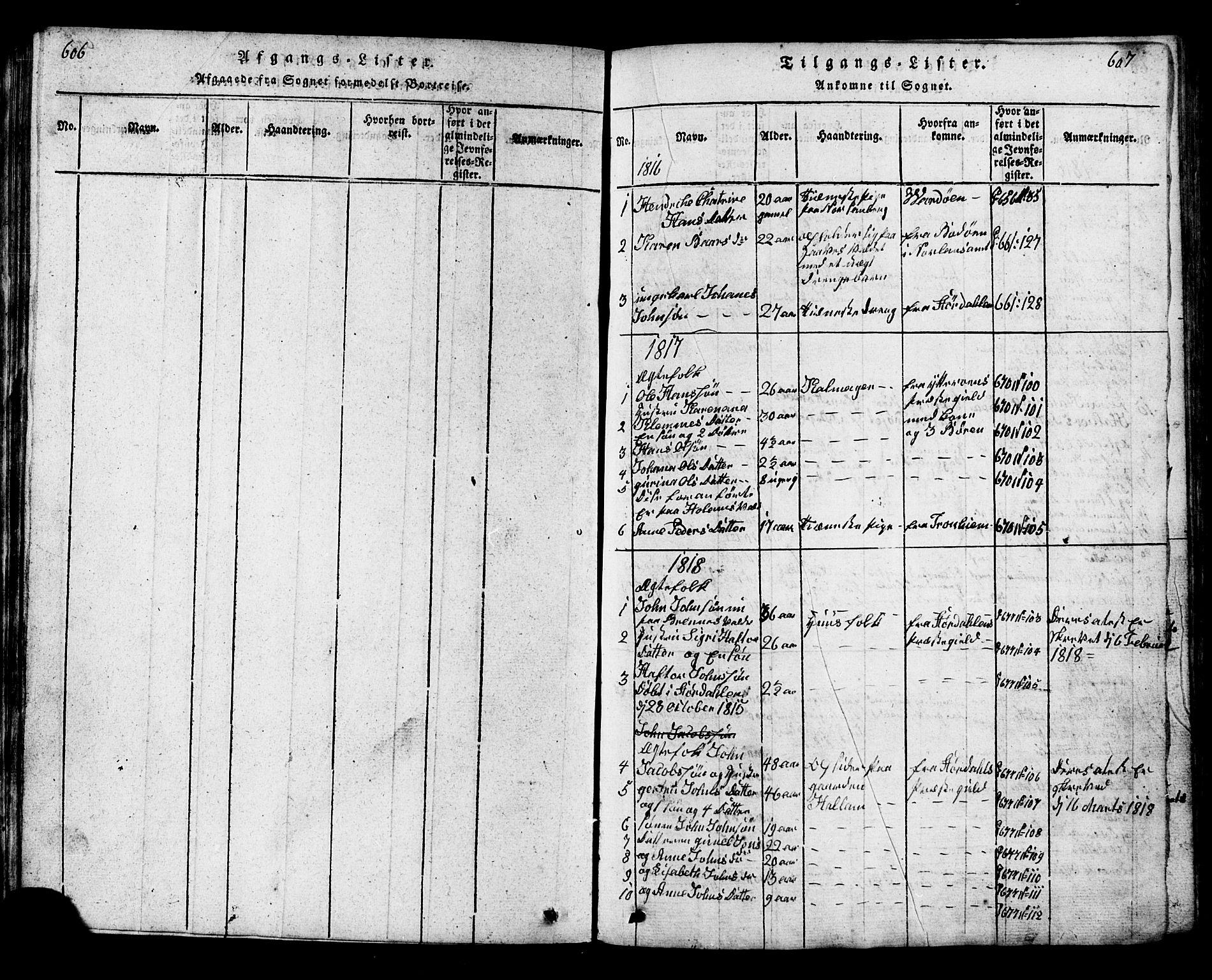 SAT, Ministerialprotokoller, klokkerbøker og fødselsregistre - Nord-Trøndelag, 717/L0169: Klokkerbok nr. 717C01, 1816-1834, s. 606-607