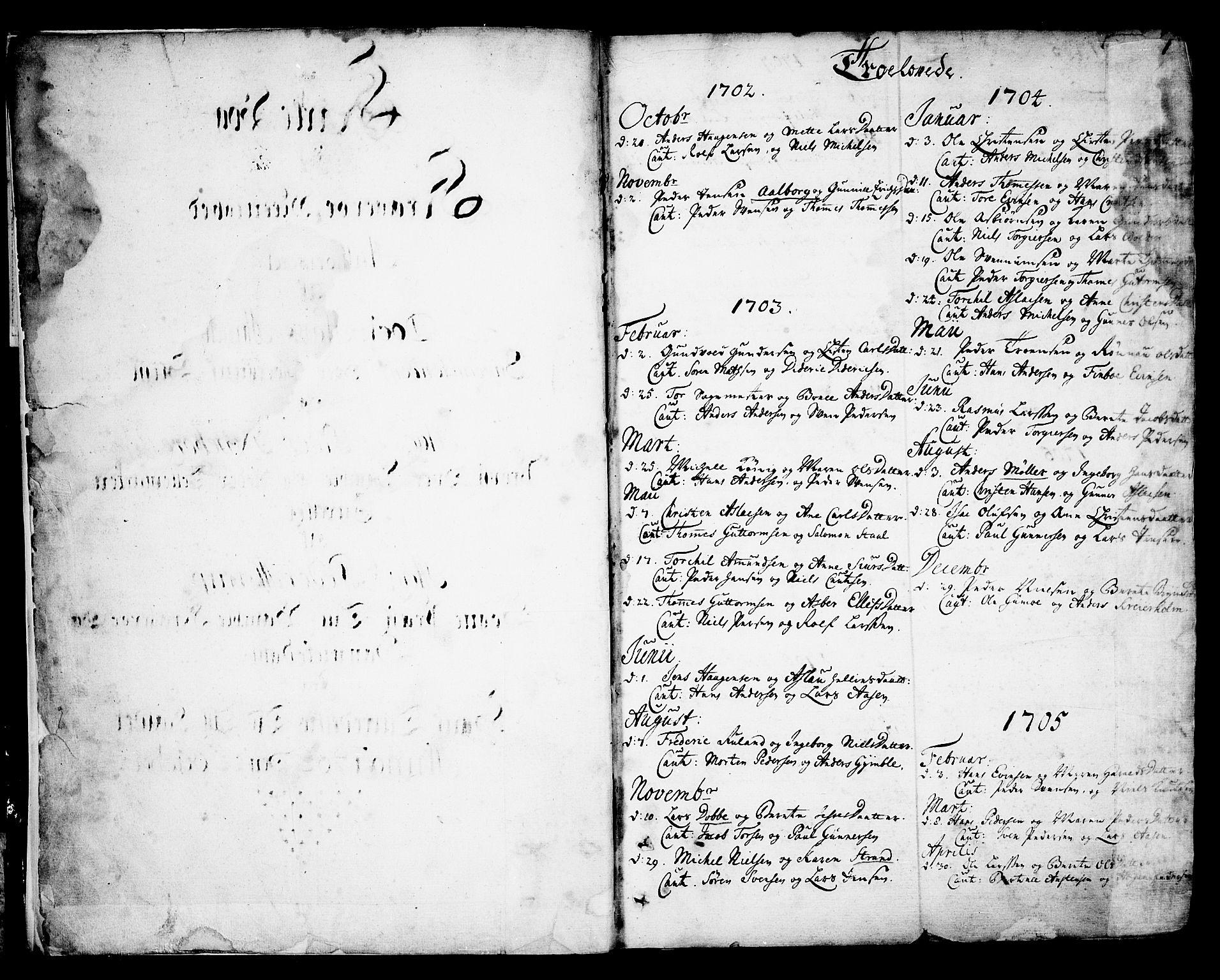 SAKO, Kragerø kirkebøker, F/Fa/L0001: Ministerialbok nr. 1, 1702-1766, s. 0-1