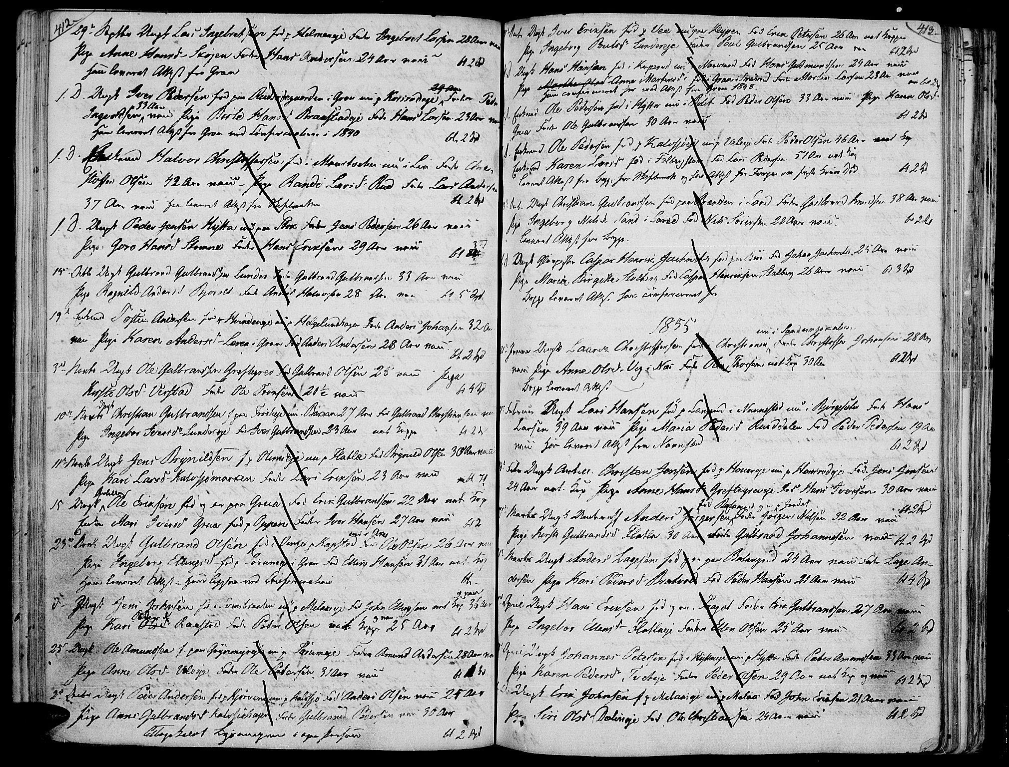 SAH, Jevnaker prestekontor, Ministerialbok nr. 4, 1800-1861, s. 412-413